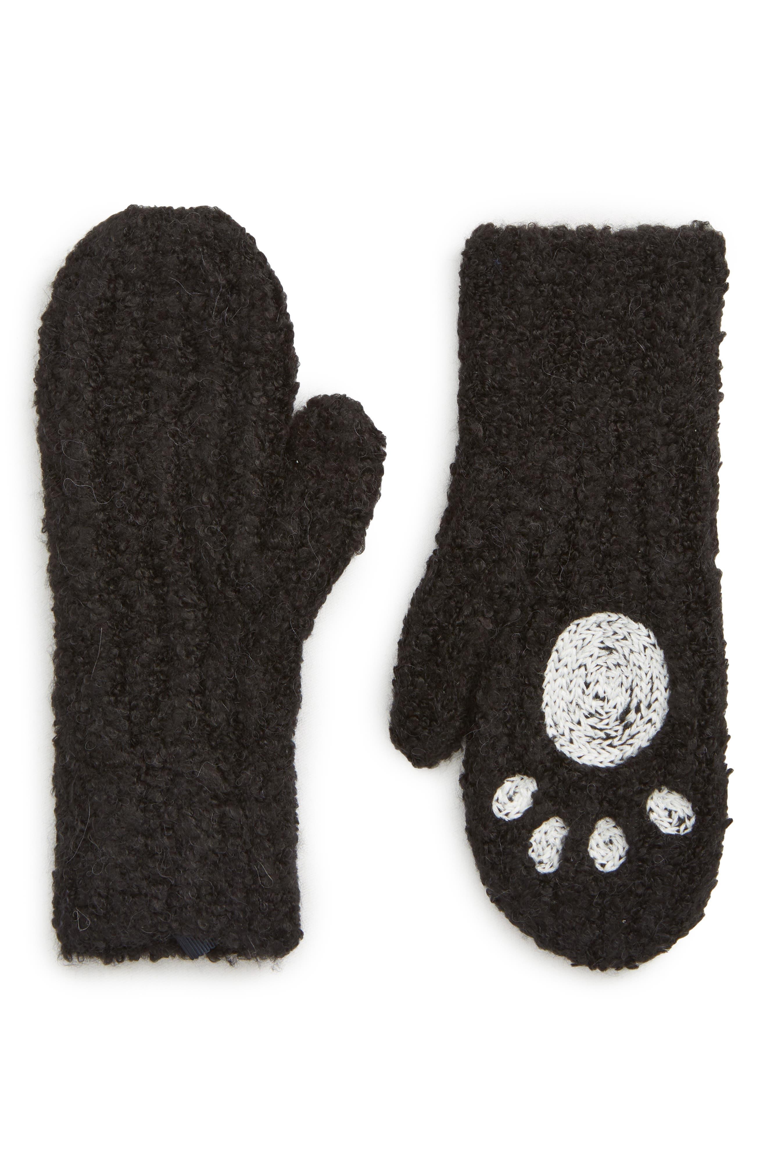 Panda Mittens,                             Main thumbnail 1, color,                             BLACK CHAMPAGNE