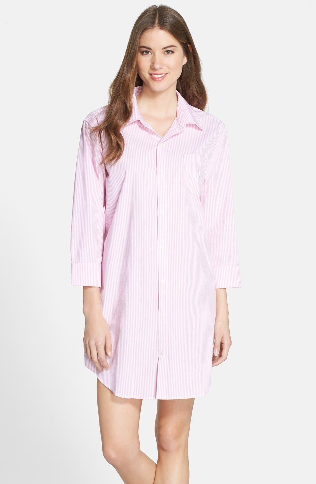 Cotton Poplin Sleep Shirt,                             Main thumbnail 2, color,