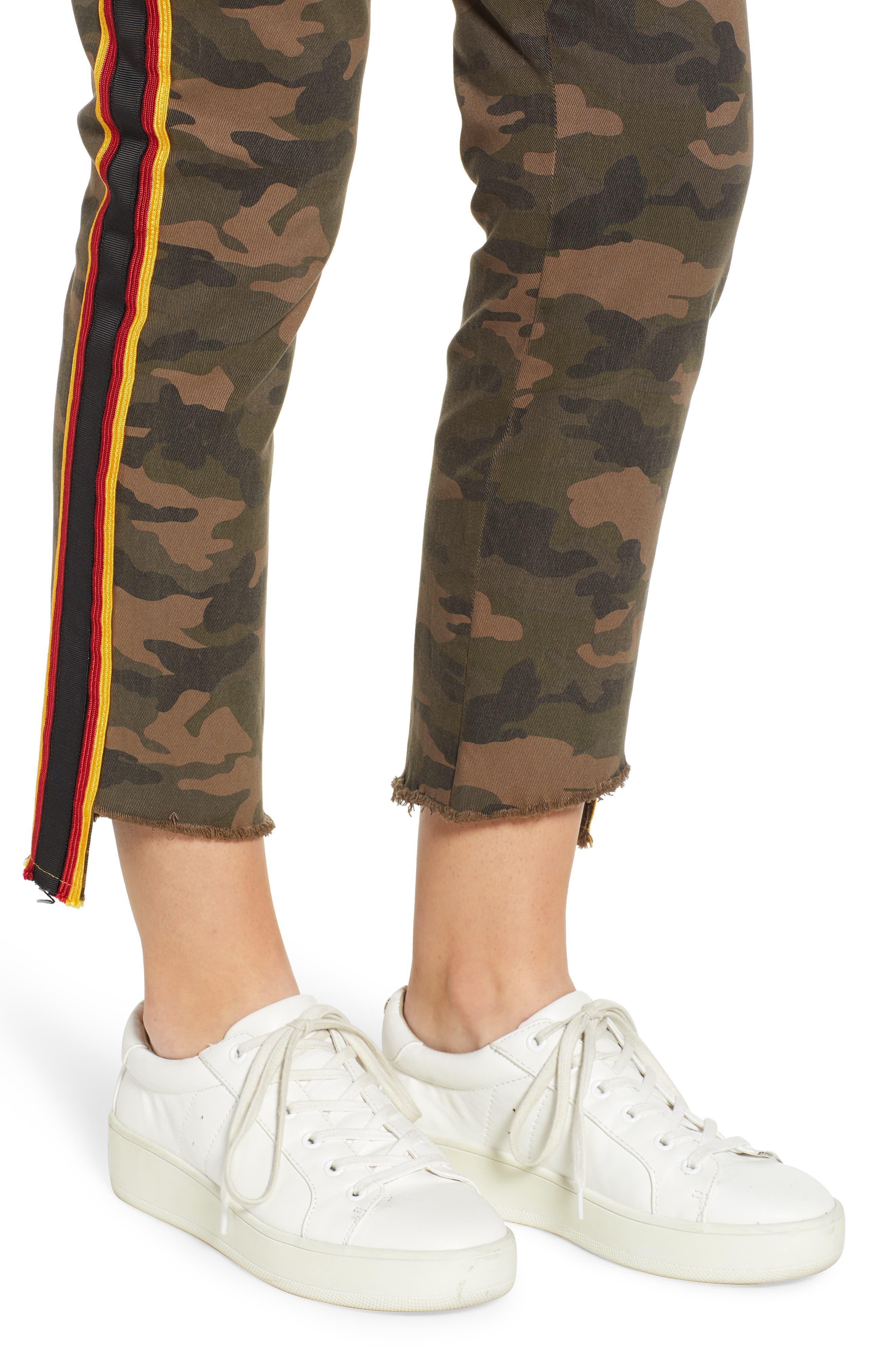 Uniform Stripe Step Hem Pants,                             Alternate thumbnail 4, color,                             ARMY