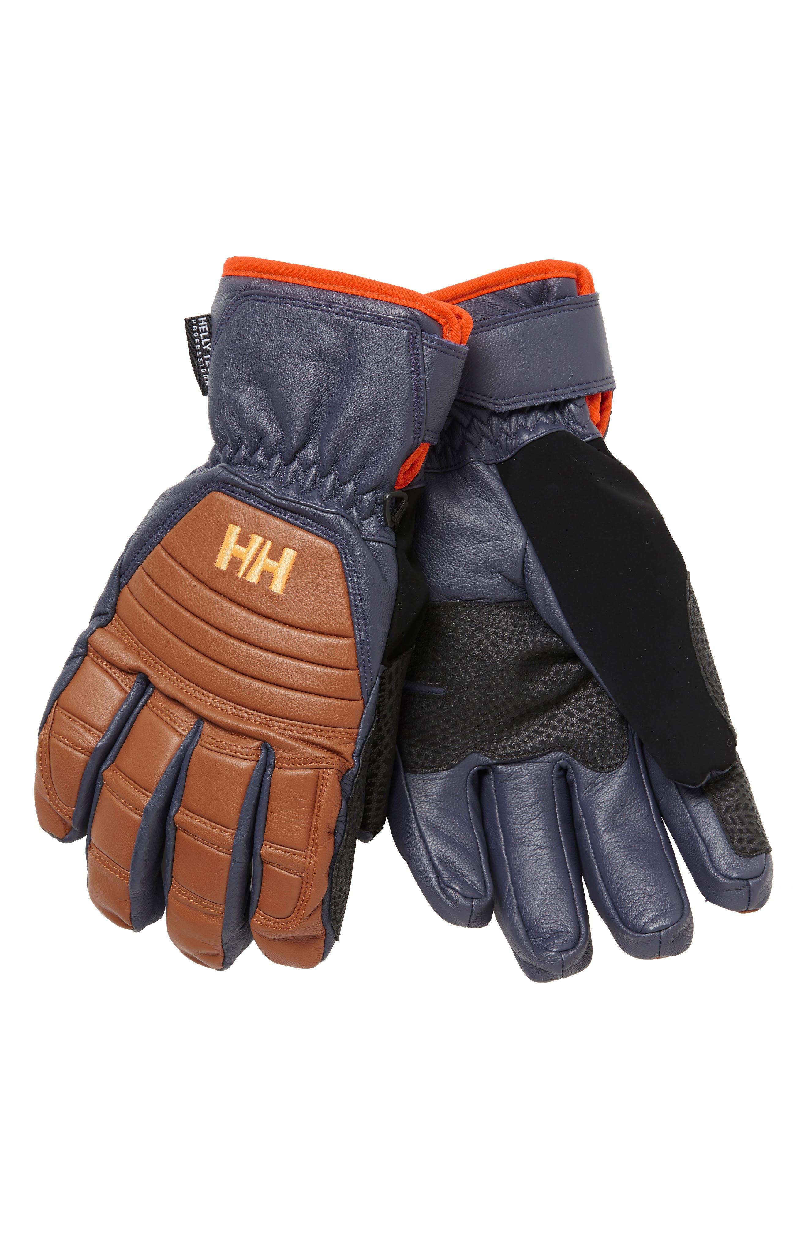Ullr Leather Ski Gloves,                         Main,                         color, CINNAMON / GRAPHITE BLUE