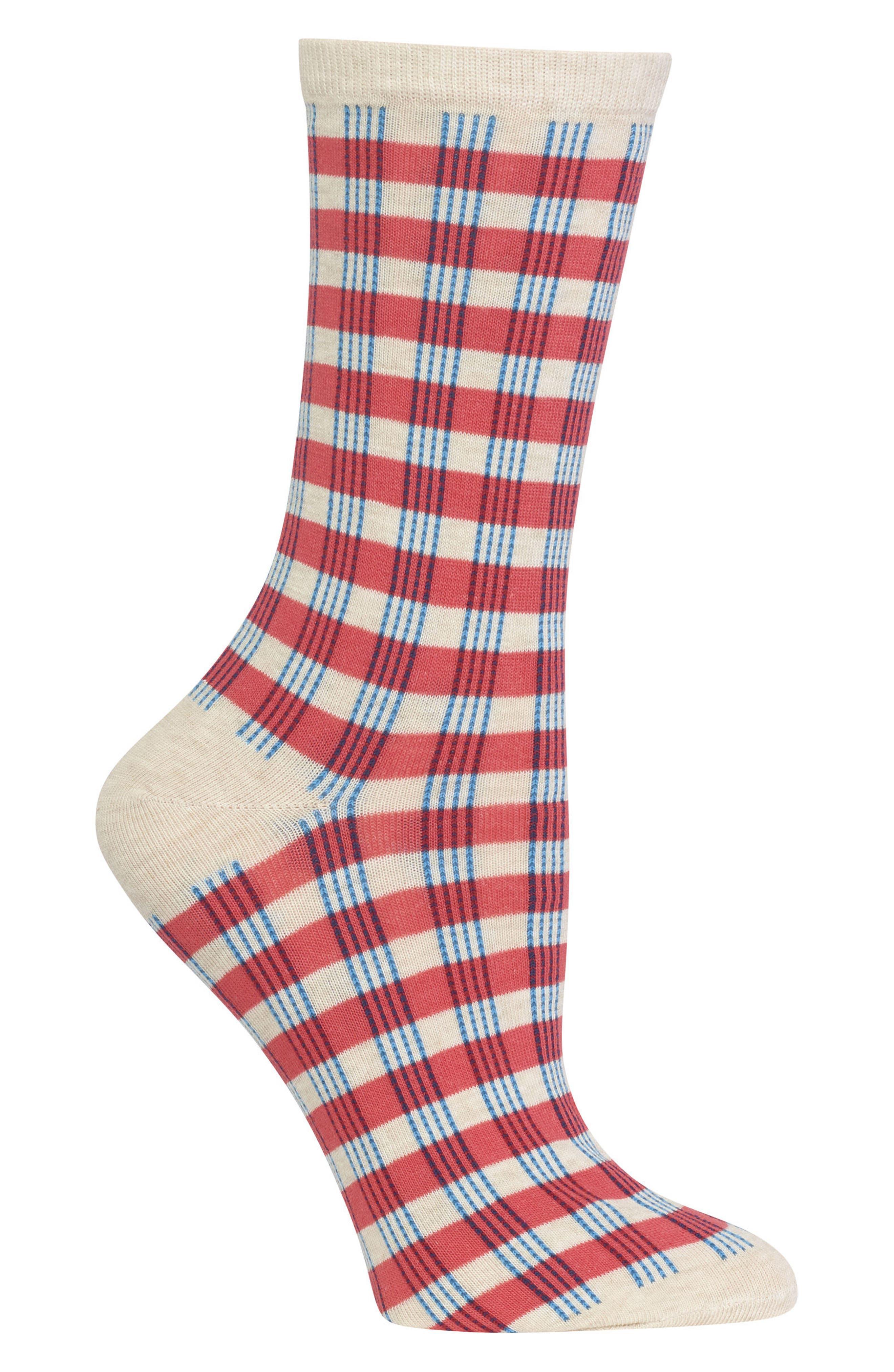 Gingham Crew Socks,                             Alternate thumbnail 2, color,                             830