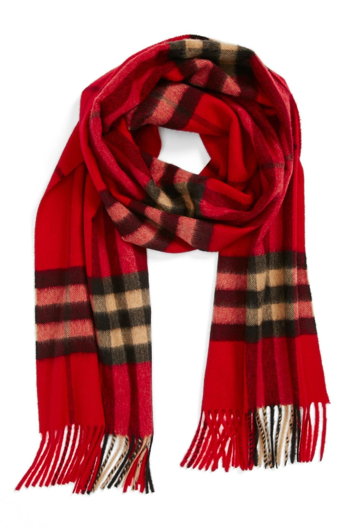 Heritage Giant Check Fringed Cashmere Muffler,                             Main thumbnail 1, color,                             CLASSIC