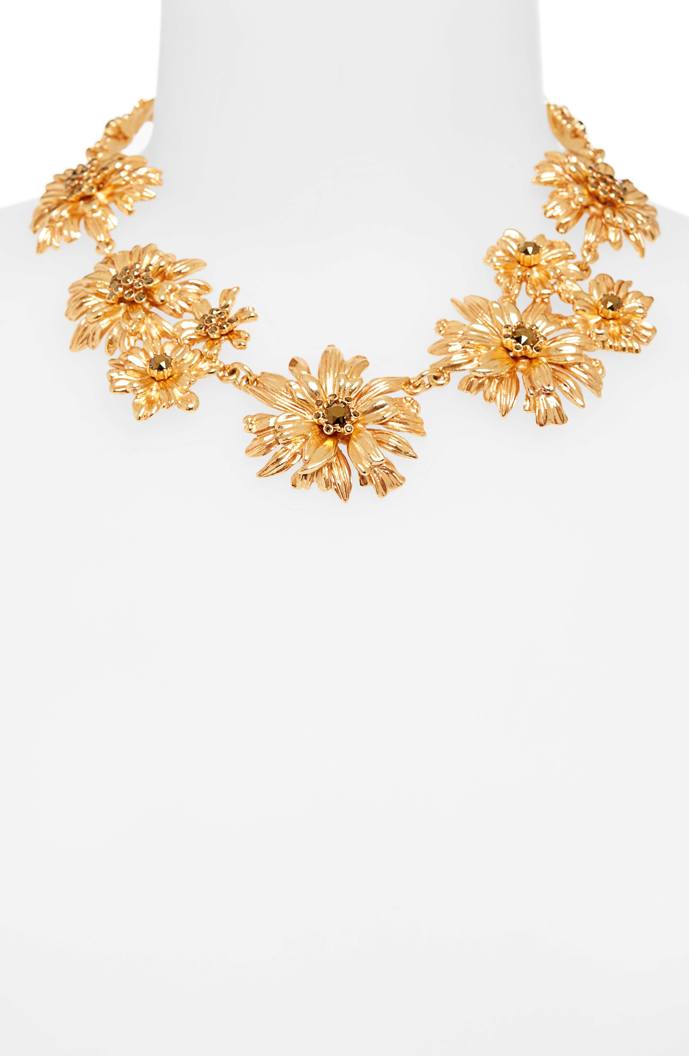 Crystal Flower Collar Necklace,                             Alternate thumbnail 2, color,                             GOLD