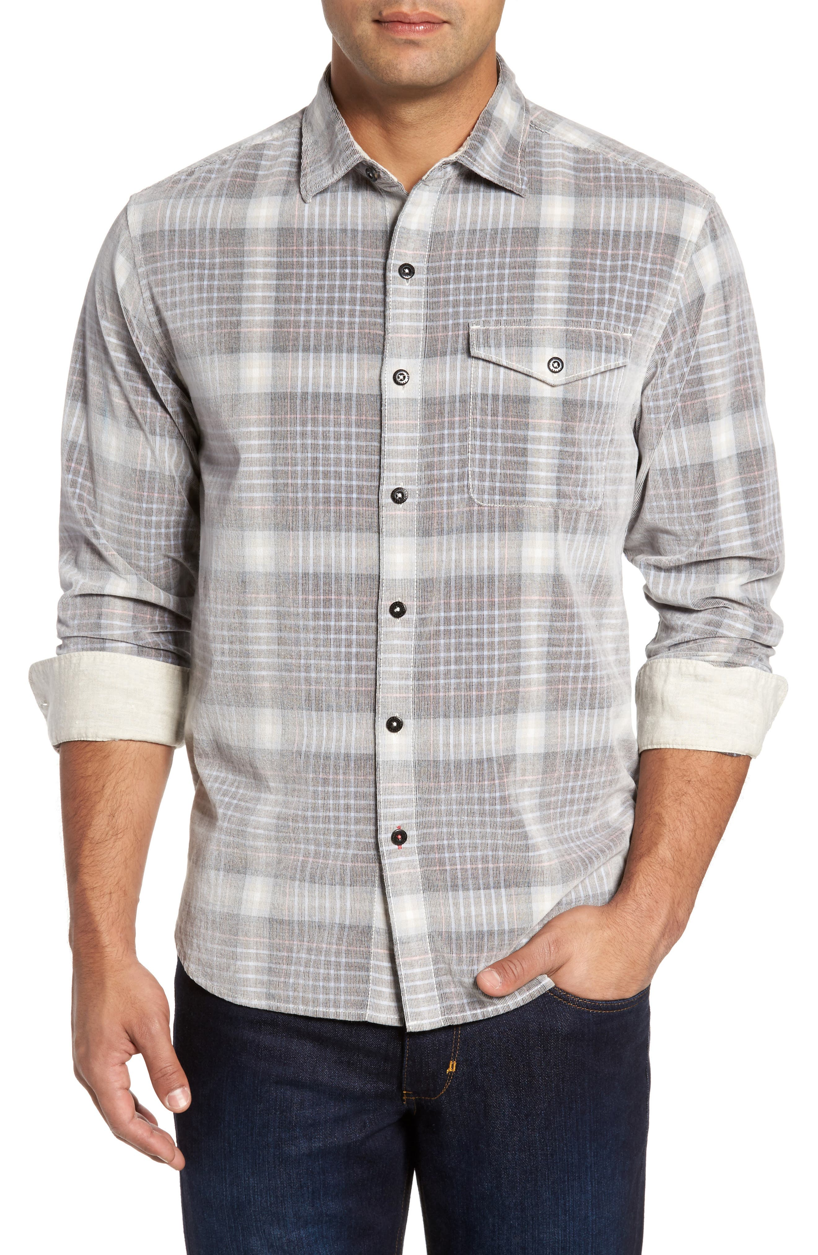 Standard Fit Plaid Sport Shirt,                             Main thumbnail 1, color,                             200