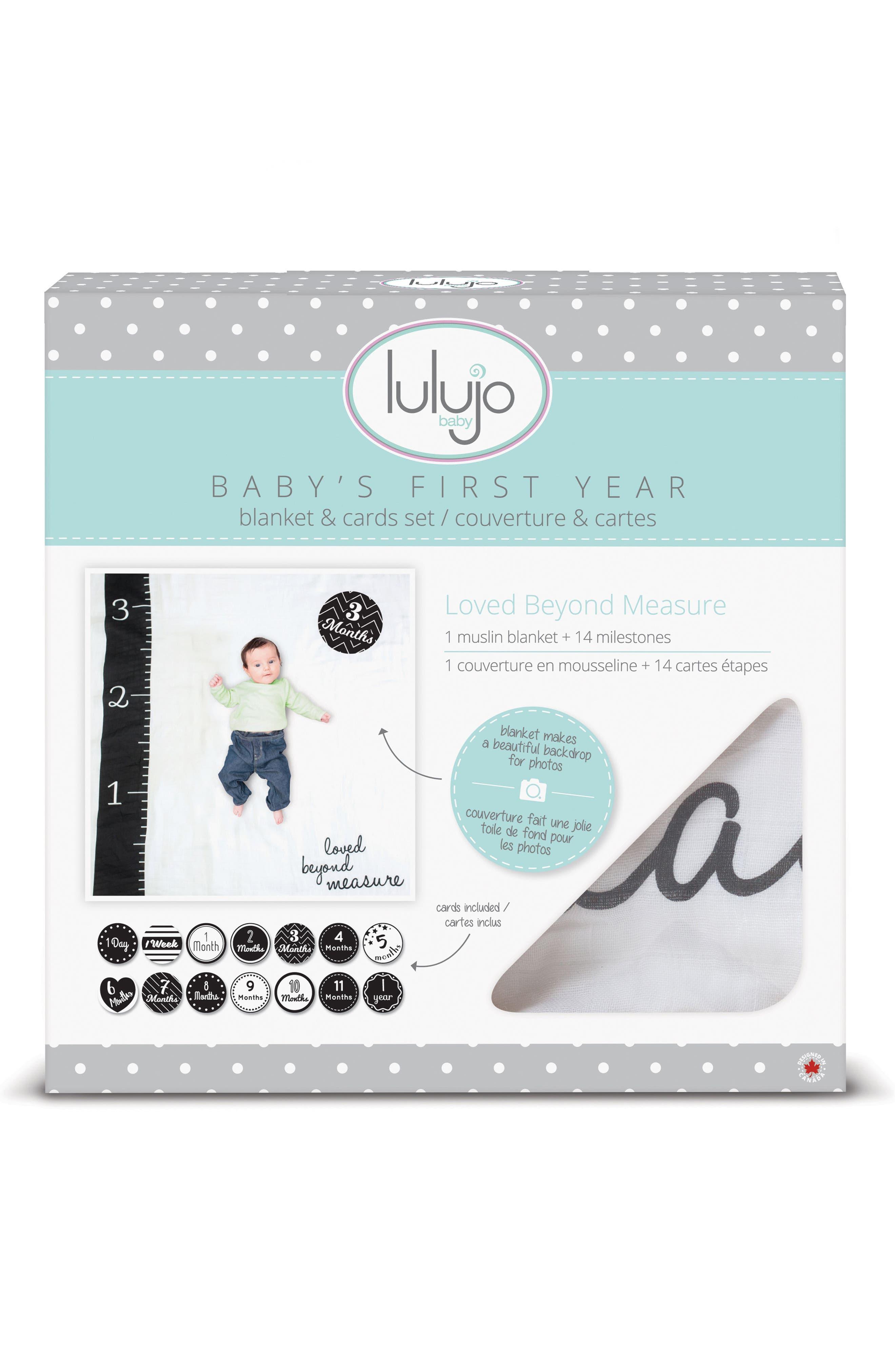 Baby's First Year - Loved Beyond Measure Muslin Blanket & Milestone Card Set,                             Alternate thumbnail 2, color,                             100