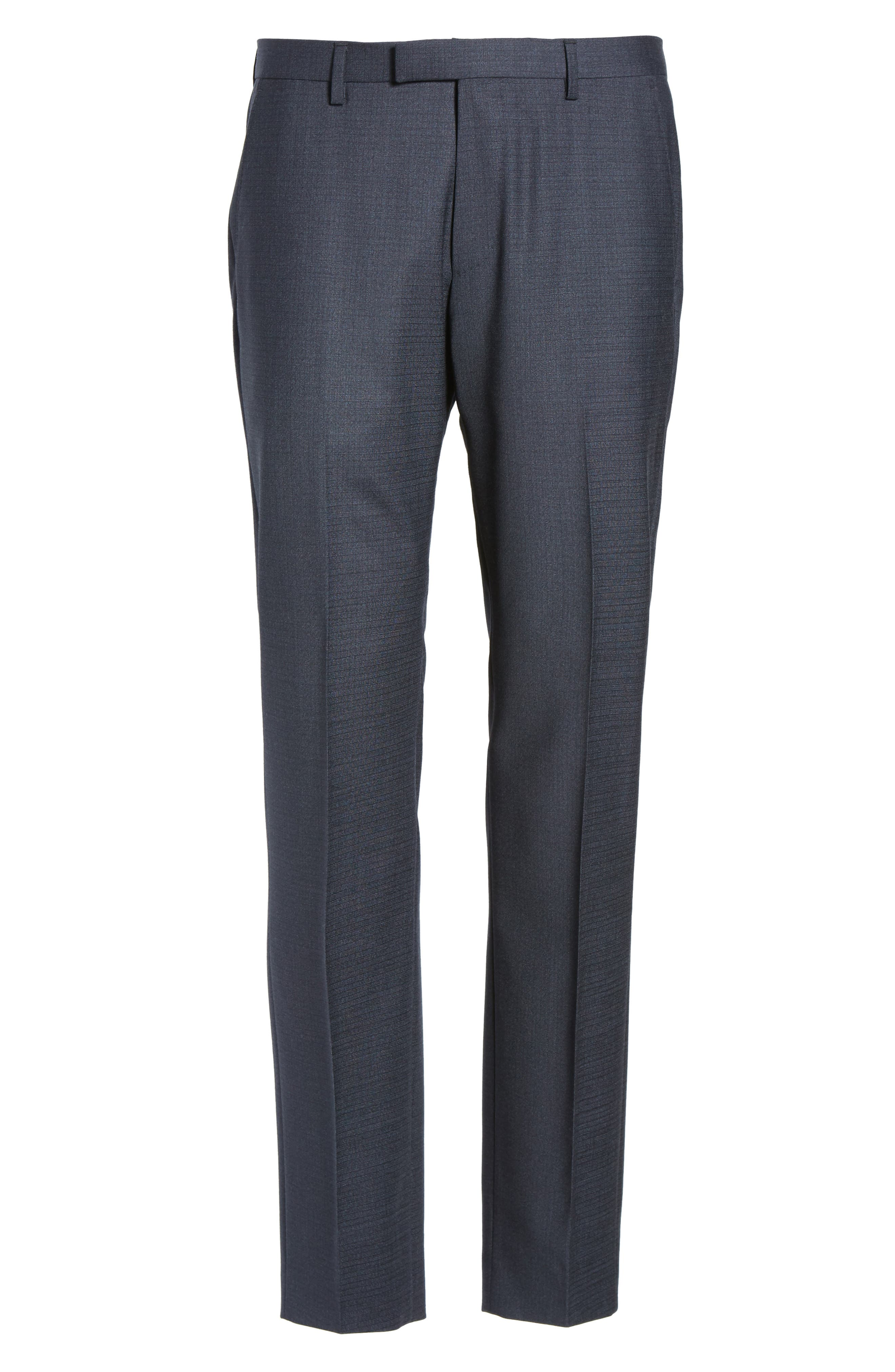 Leenon Classic Fit Plaid Stretch Wool Trousers,                             Alternate thumbnail 6, color,