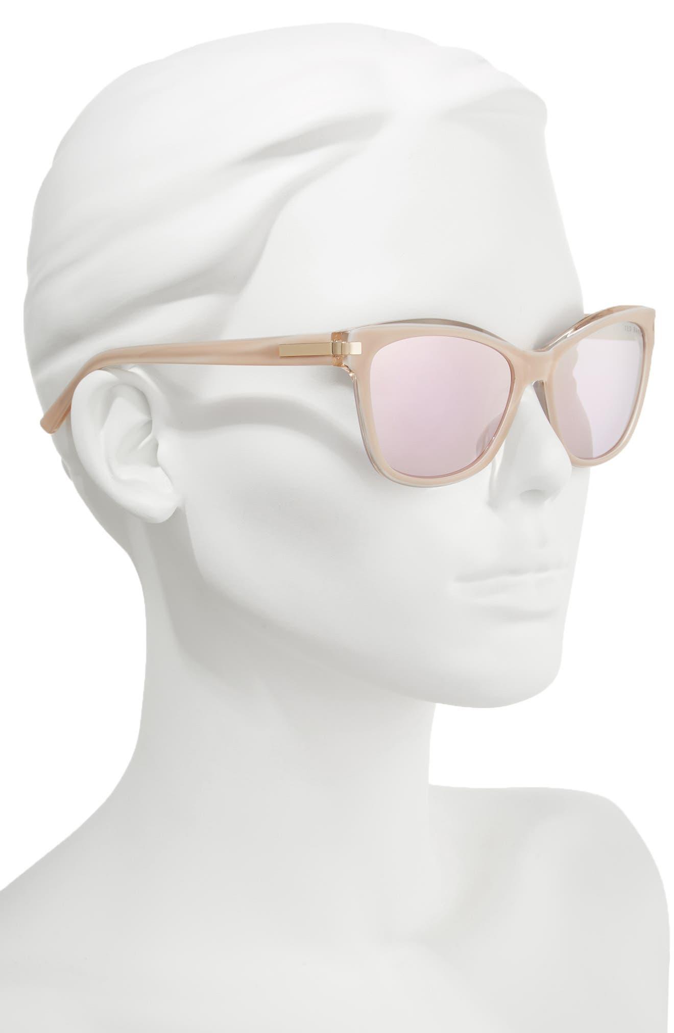 56mm Cat Eye Sunglasses,                             Alternate thumbnail 2, color,                             BLUSH