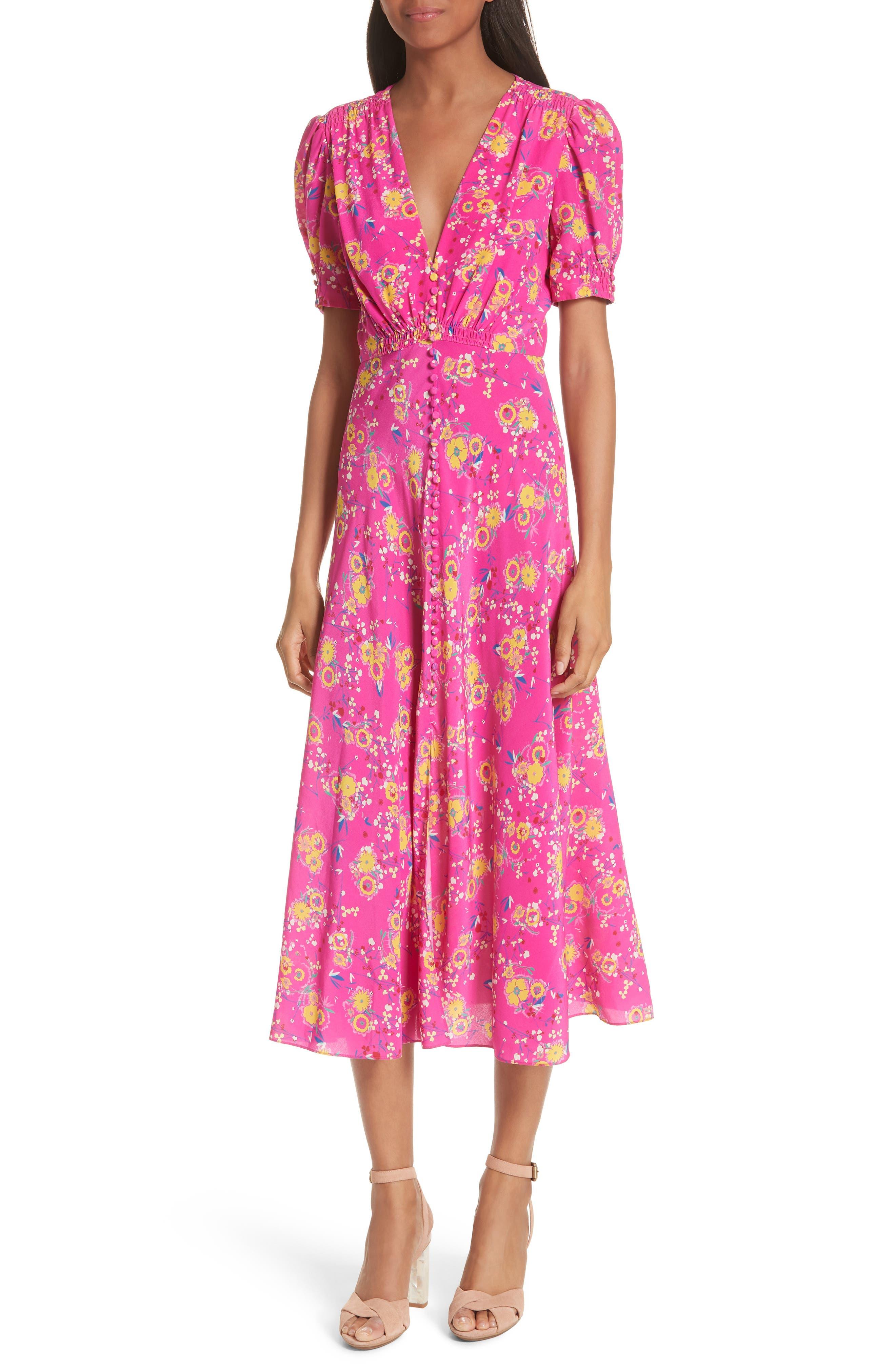 Lea Silk Midi Dress,                             Main thumbnail 1, color,                             SHOCKING PINK PIMPEMELL