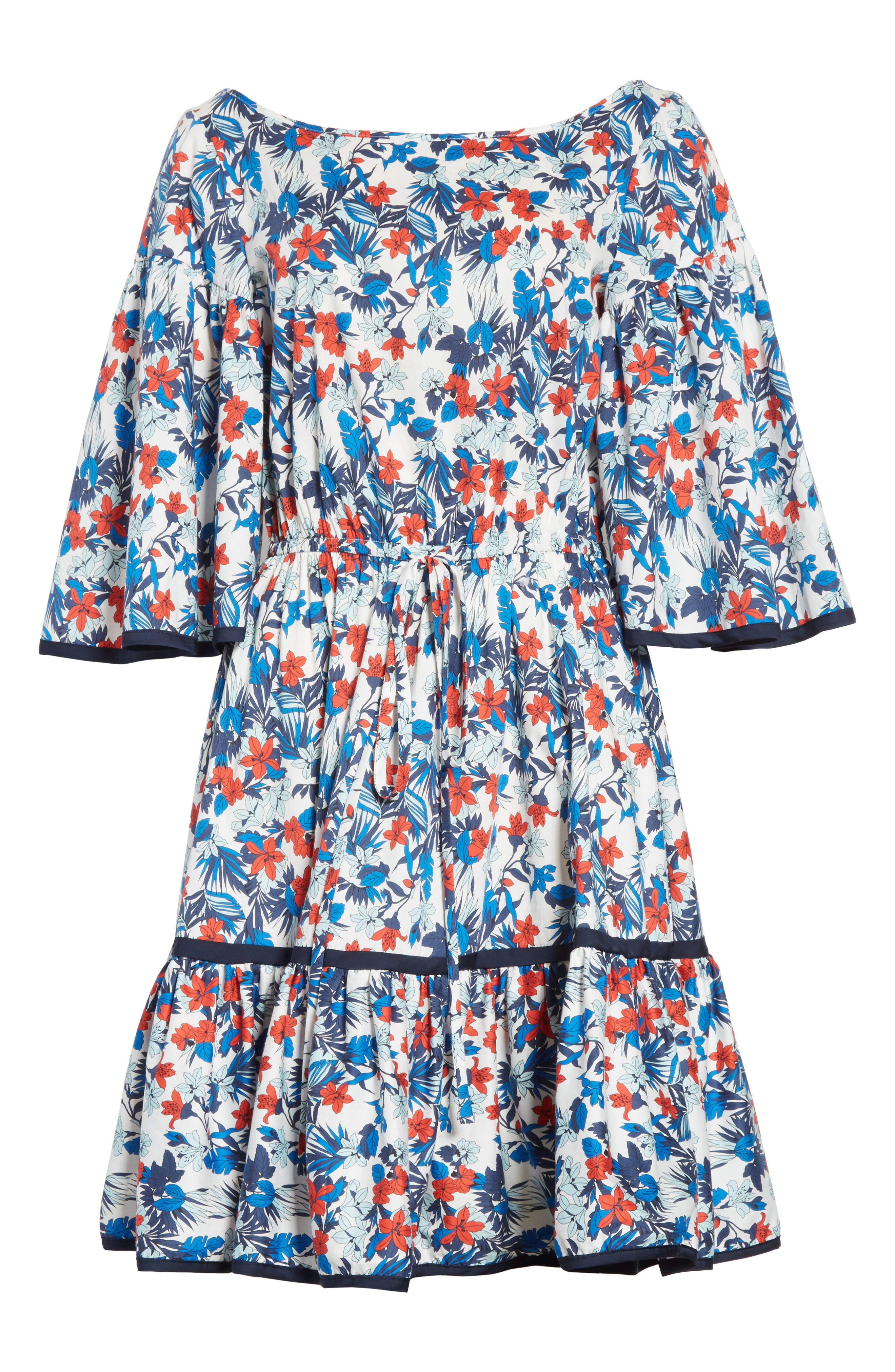 Hibiscus Print Fit & Flare Dress,                             Alternate thumbnail 6, color,                             433