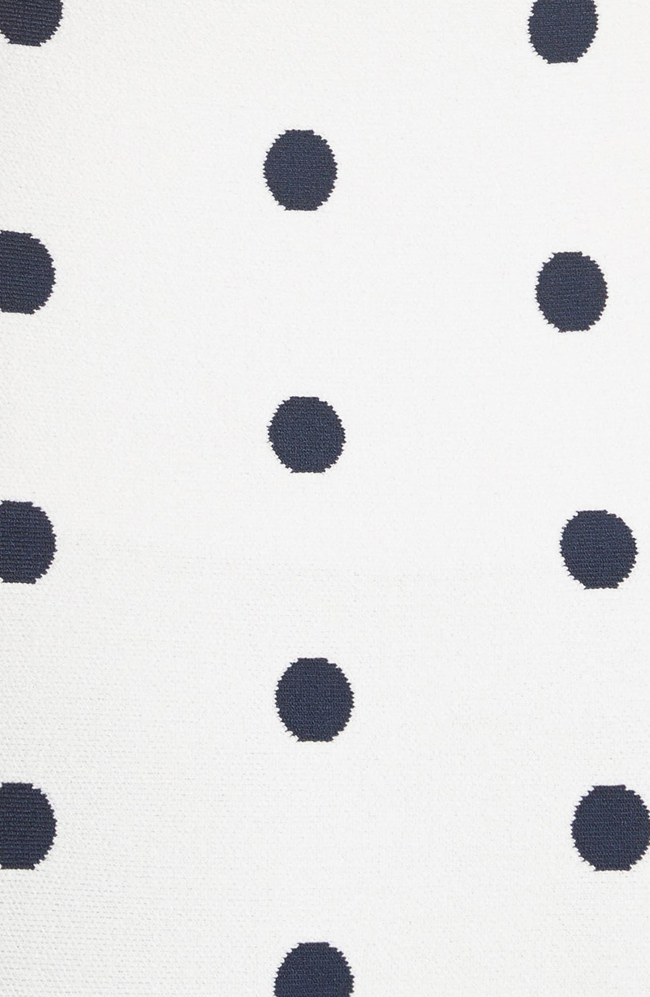 Polka Dot Mermaid Dress,                             Alternate thumbnail 5, color,                             WHITE/ NAVY