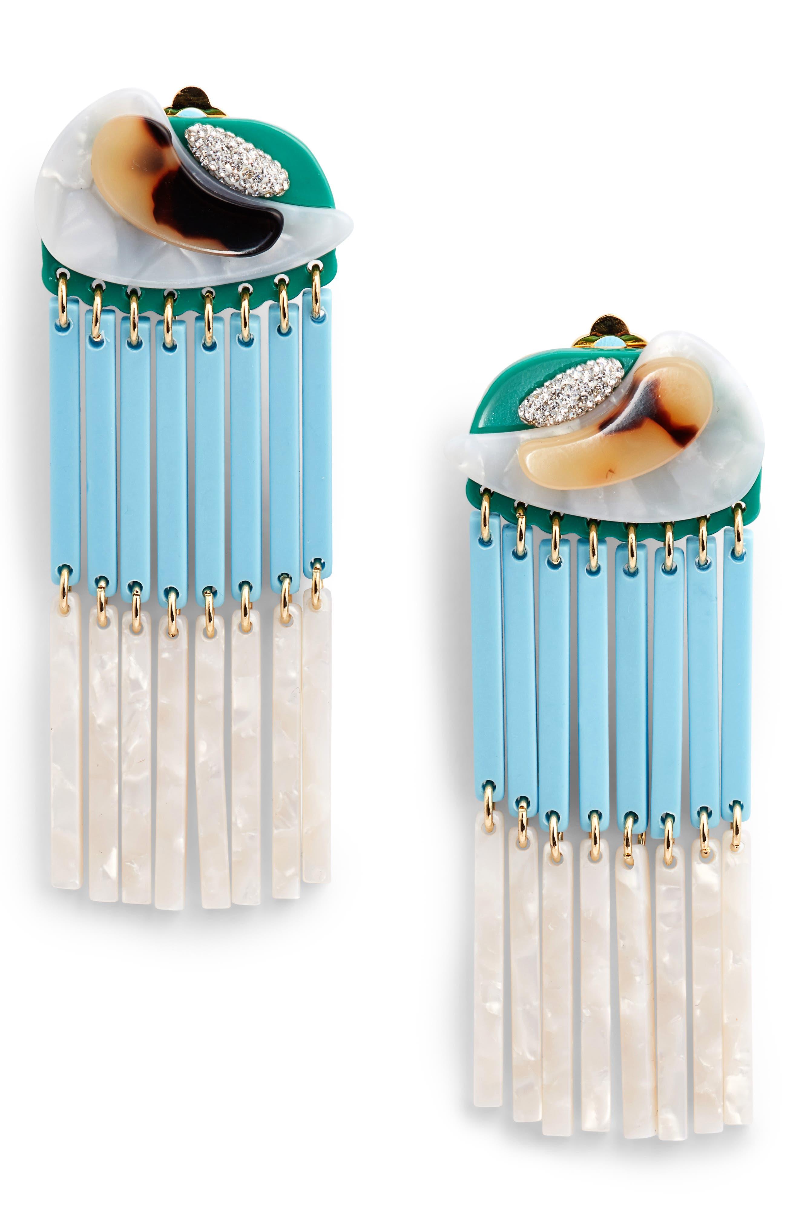 Parrot Beaded Drop Earrings,                             Main thumbnail 1, color,                             400