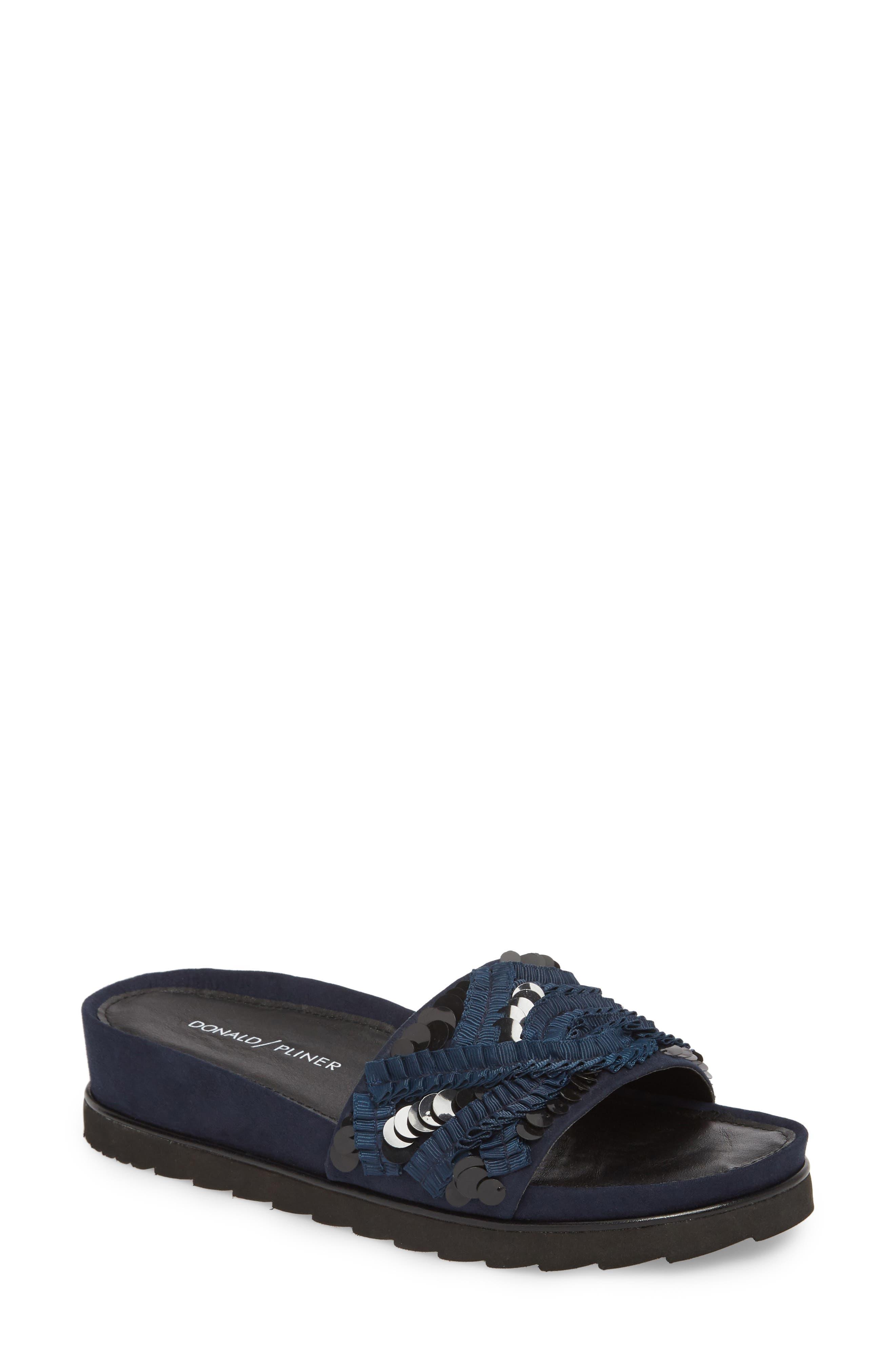 Cava Slide Sandal,                         Main,                         color, NAVY SUEDE