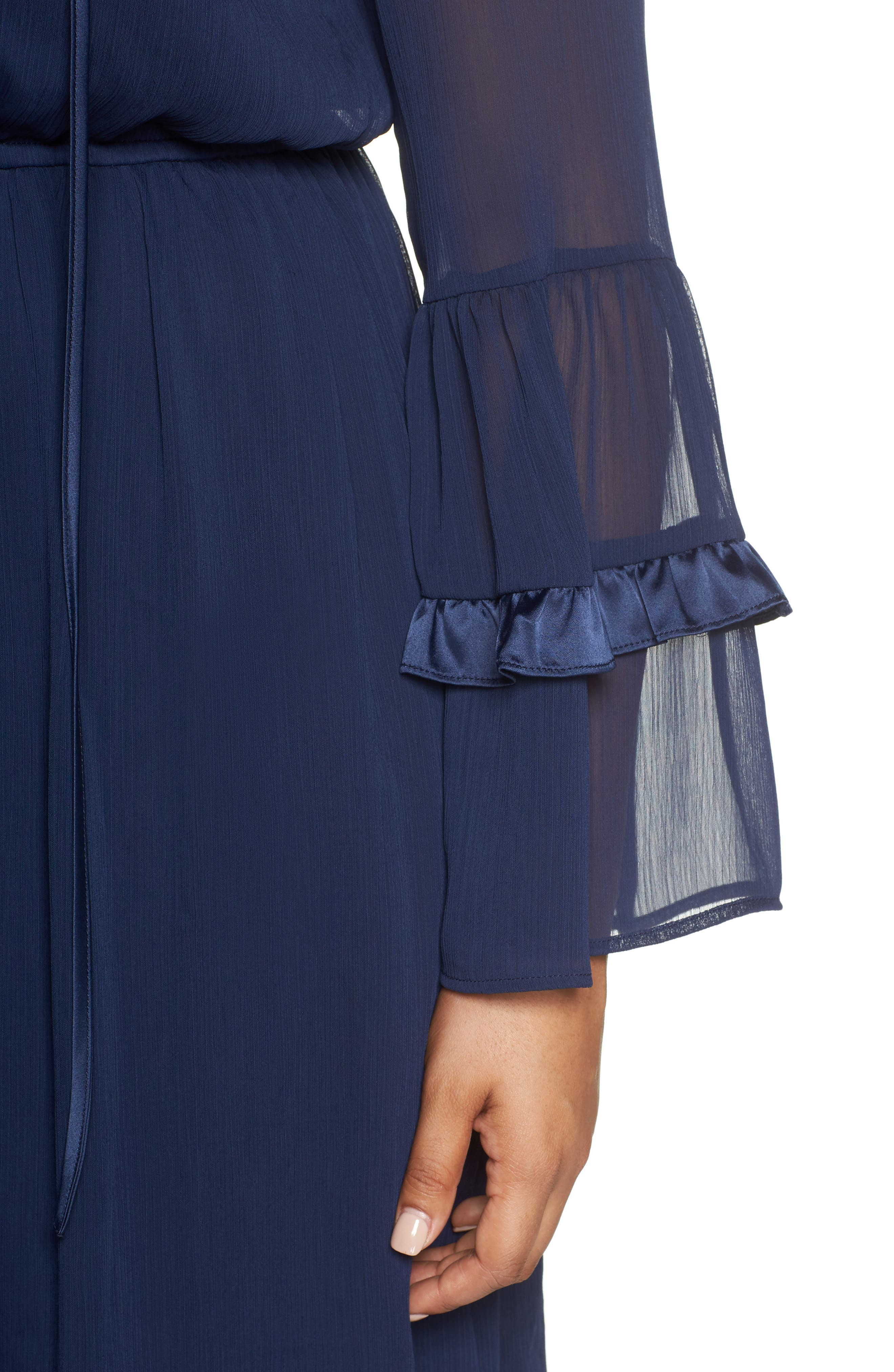 Satin Trim Chiffon Dress,                             Alternate thumbnail 4, color,                             NAVY