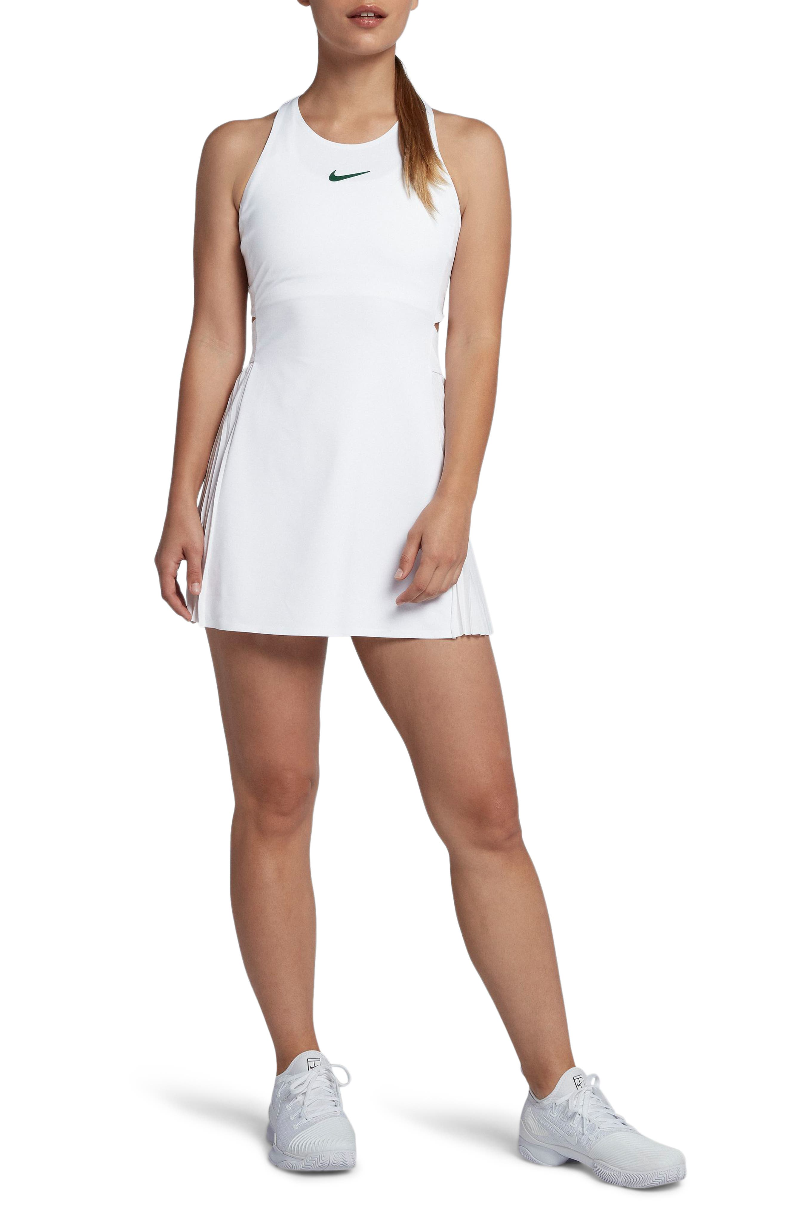 Maria Dry Tennis Dress,                         Main,                         color, WHITE/ GORGE GREEN