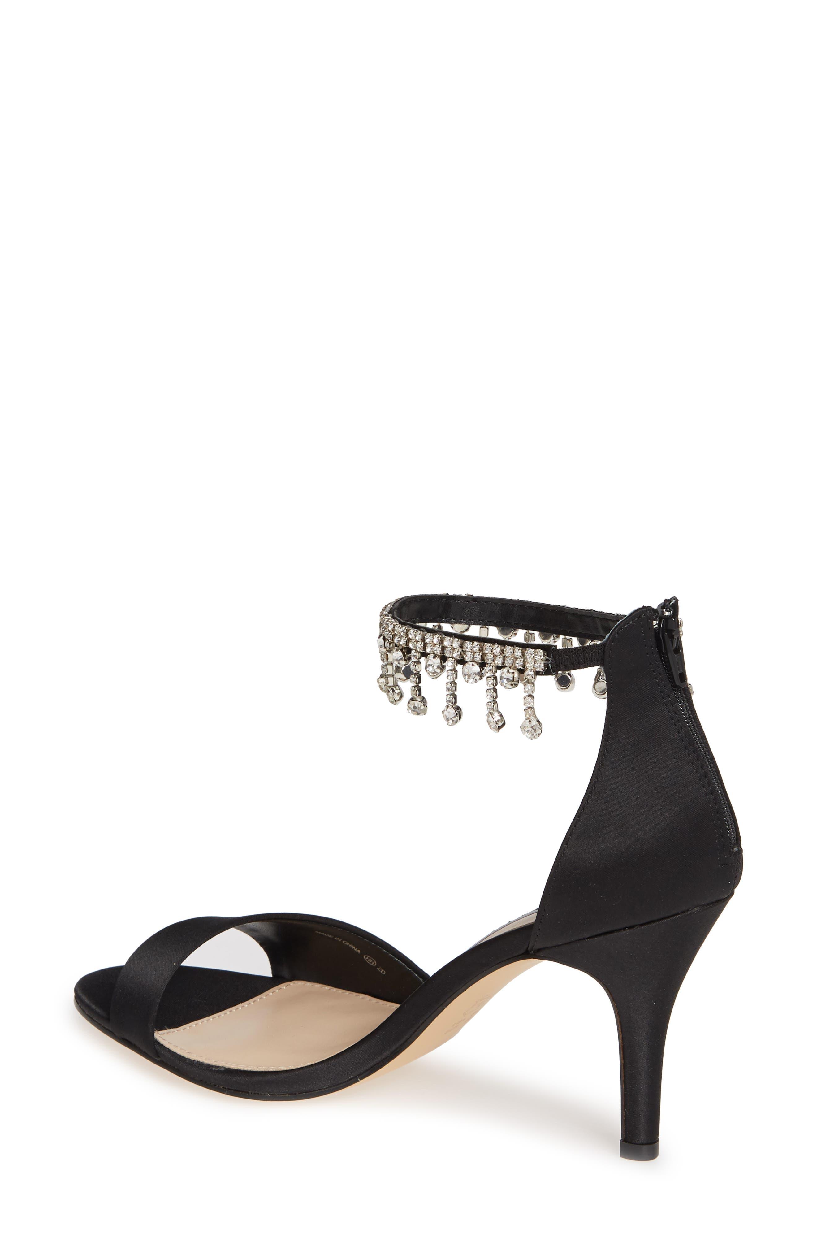 Vera Embellished Ankle Strap Sandal,                             Alternate thumbnail 2, color,                             BLACK SATIN