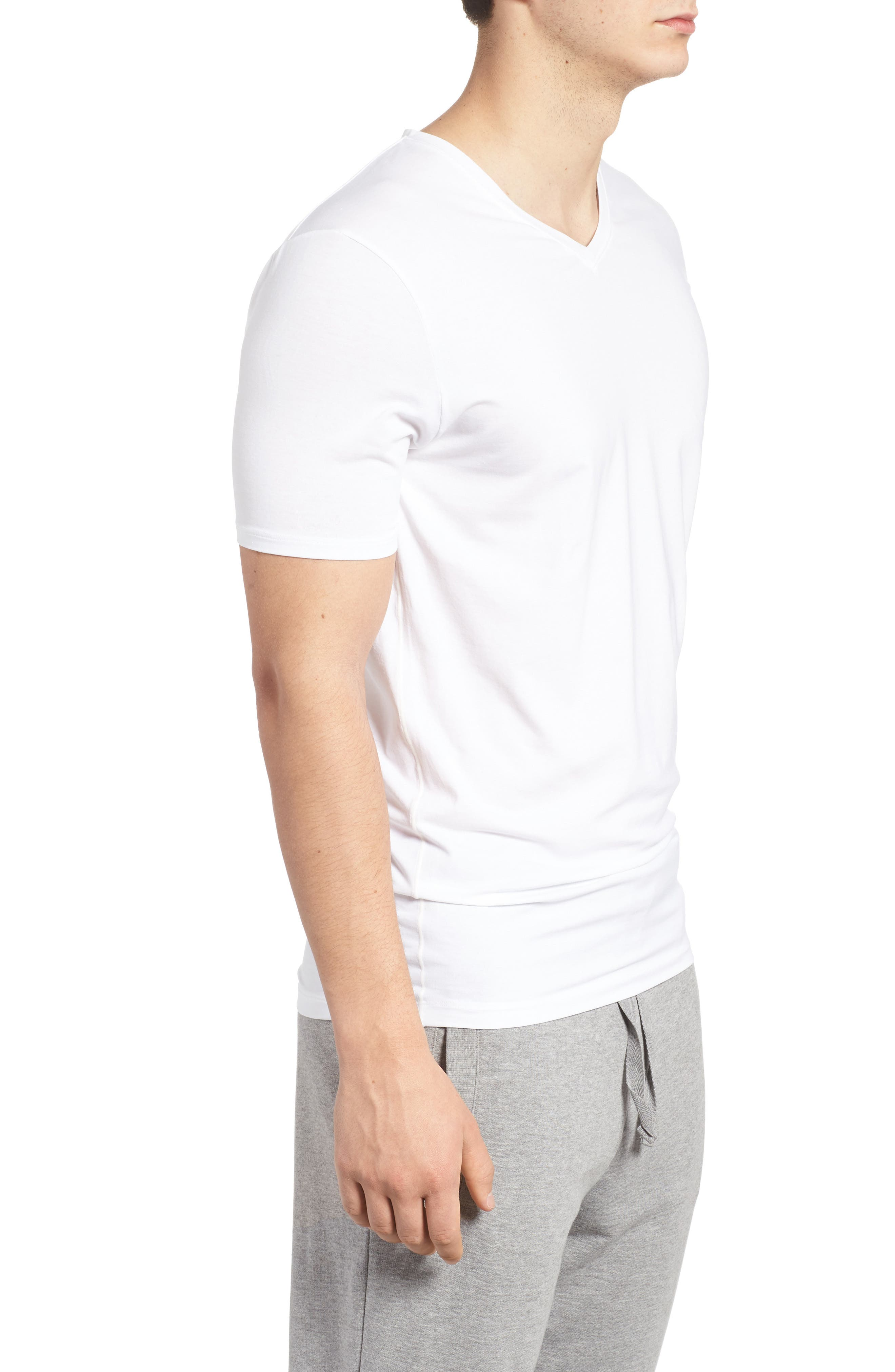 Cool Cotton High V-Neck Undershirt,                             Alternate thumbnail 3, color,                             WHITE