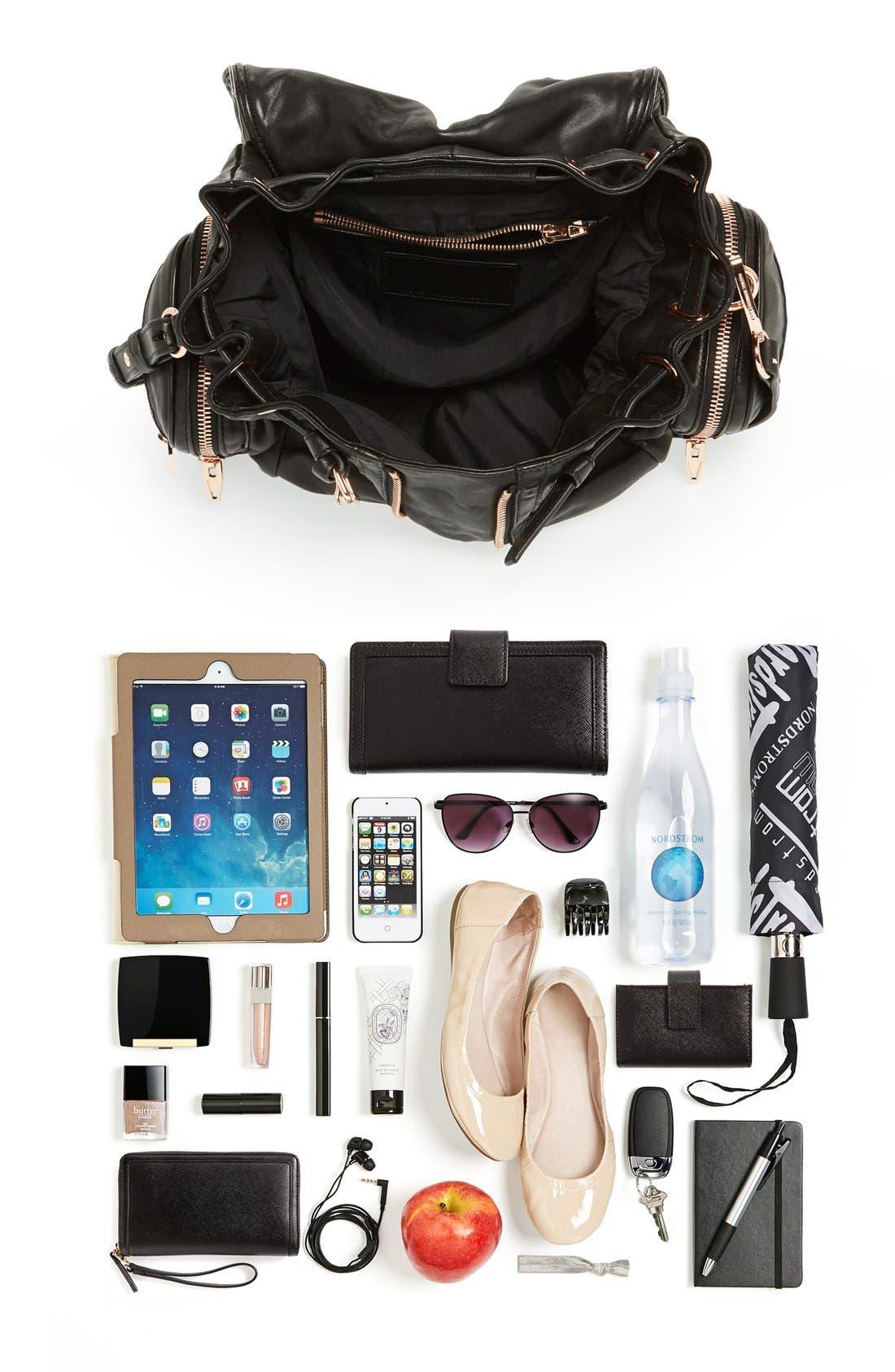 'Marti - Rose Gold' Leather Backpack,                             Alternate thumbnail 3, color,                             001