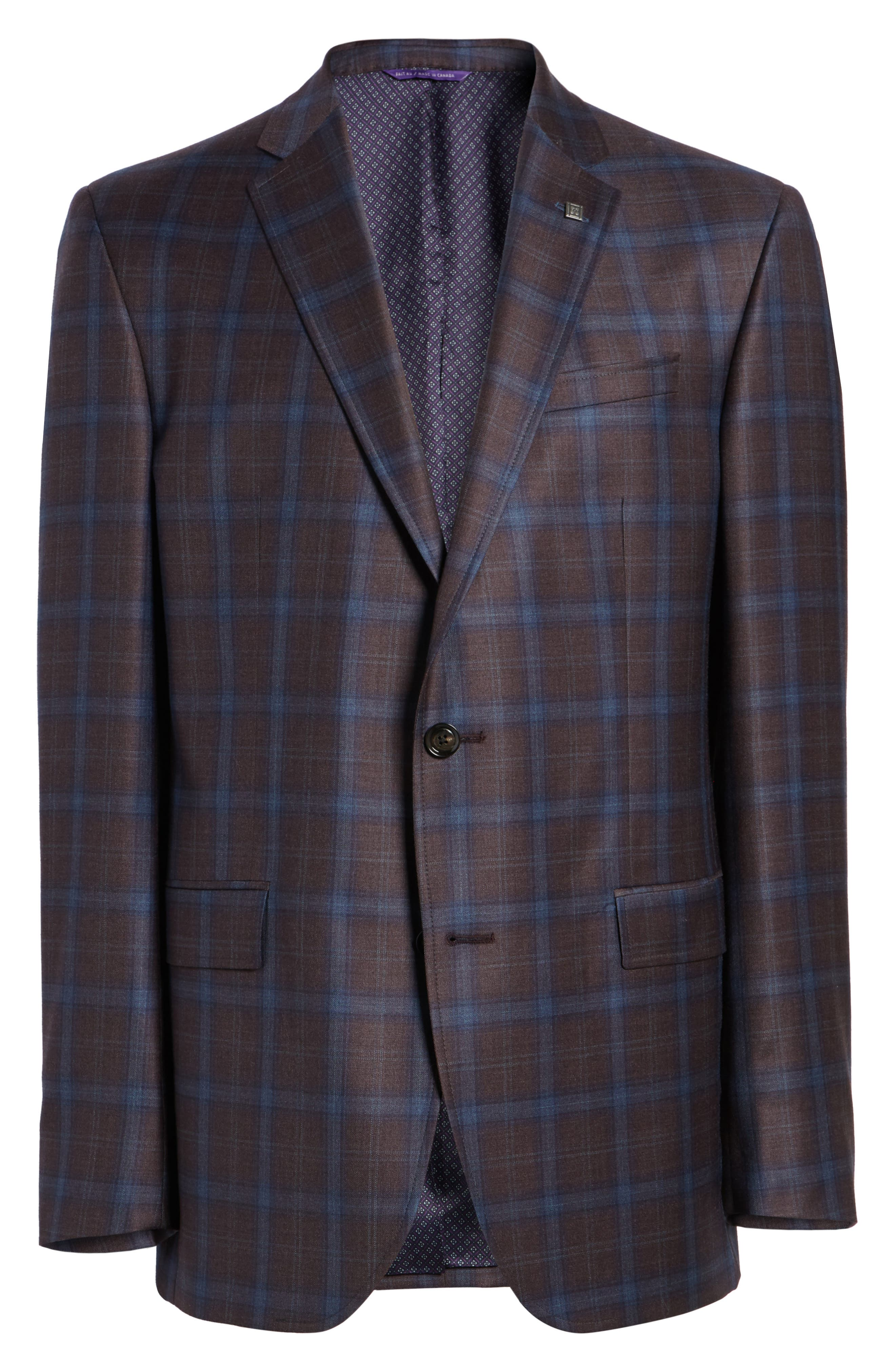 Jay Trim Fit Plaid Wool Sport Coat,                             Alternate thumbnail 5, color,                             932