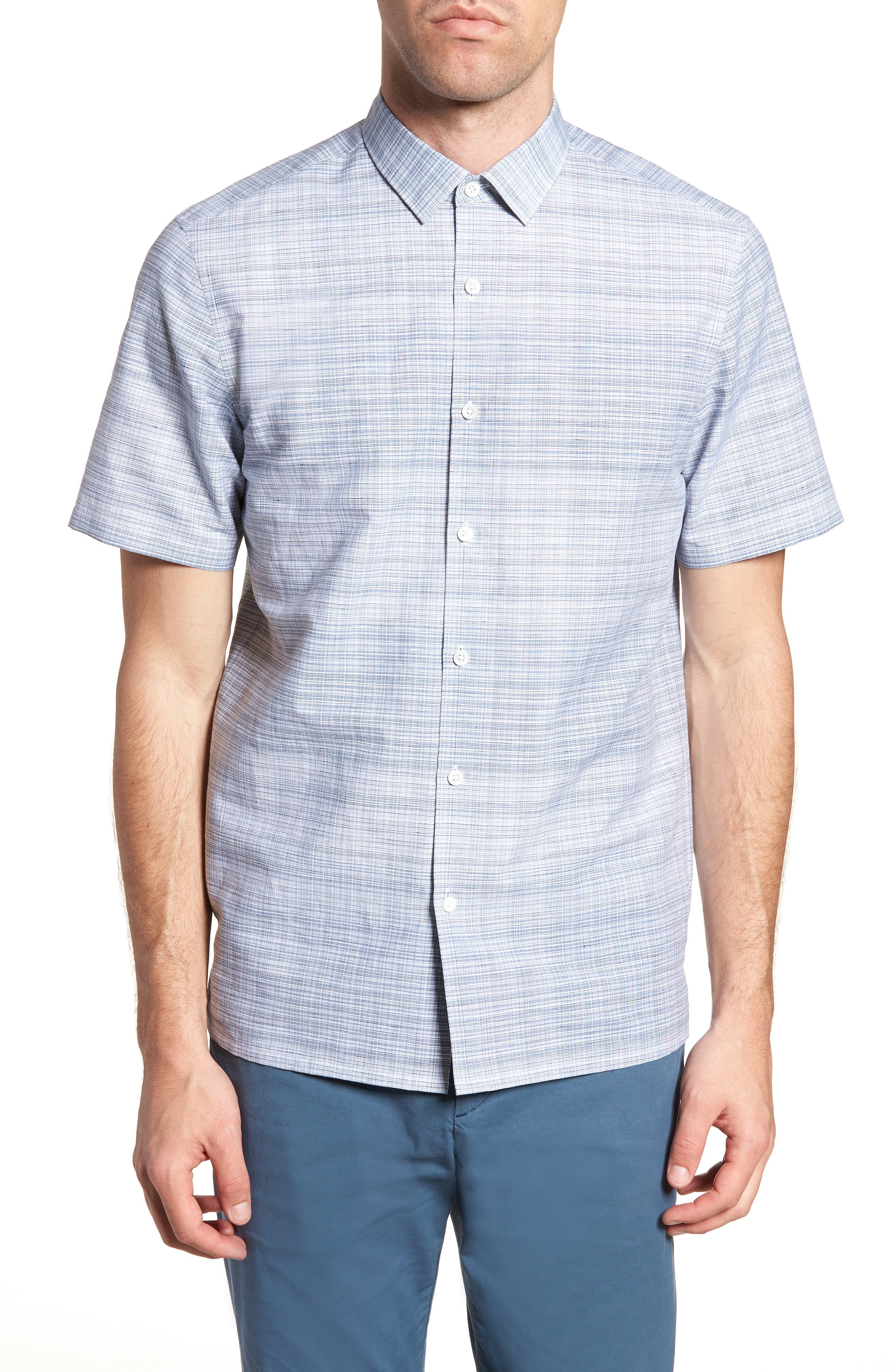 Murray Trim Fit Print Woven Shirt,                         Main,                         color, 400