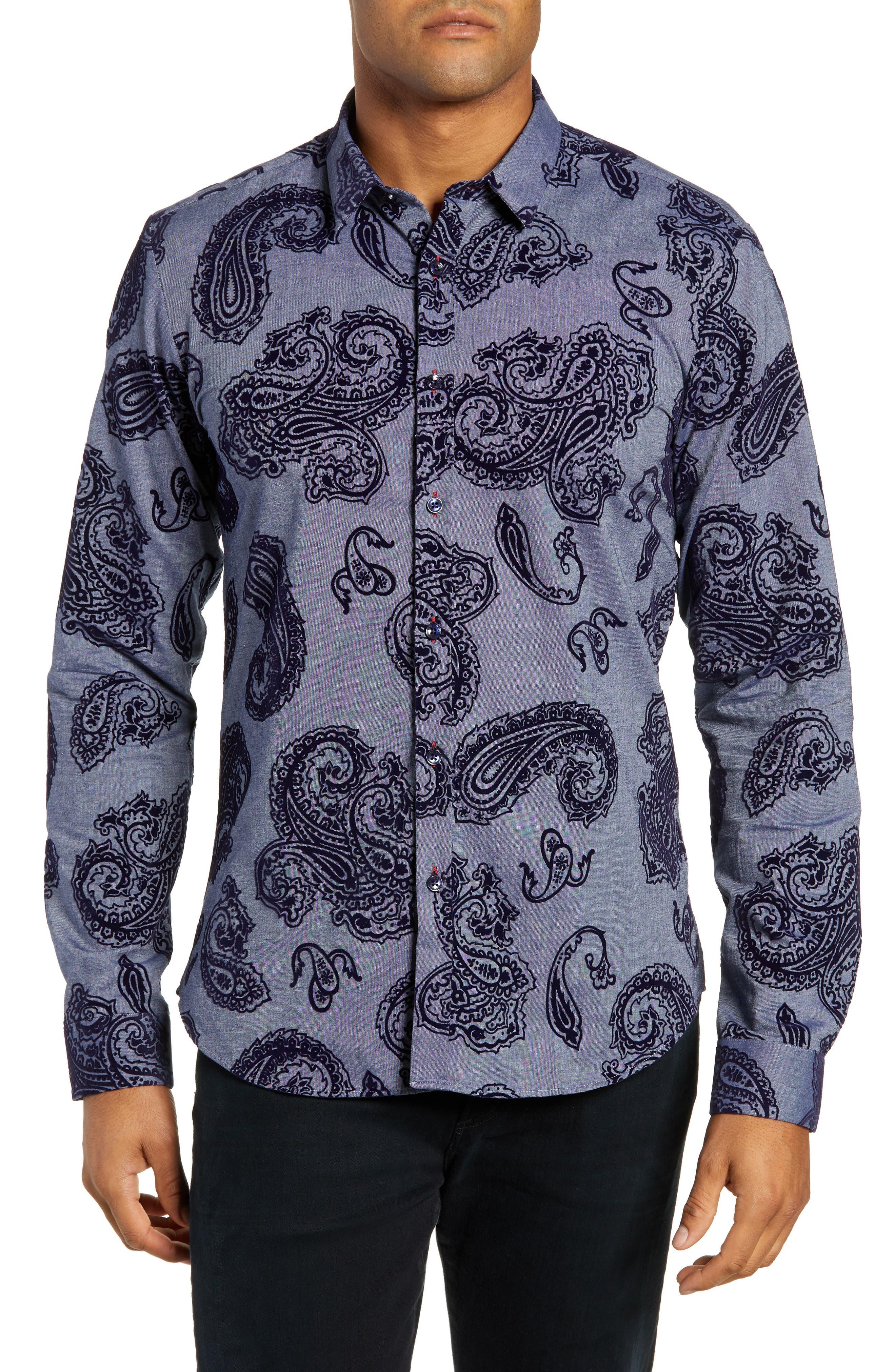 Trim Fit Sport Shirt, Main, color, BLUE PAISLEY FLOCKING