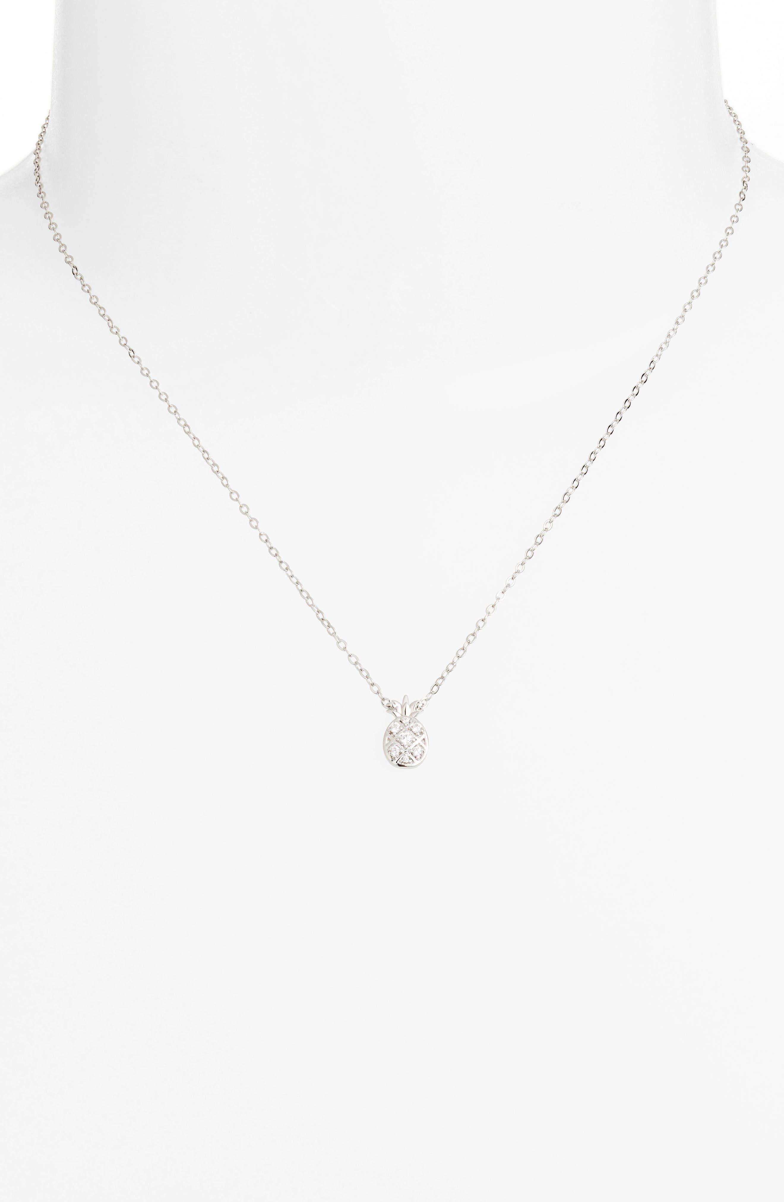 Reminisce Cubic Zirconia Pineapple Pendant Necklace,                             Alternate thumbnail 2, color,                             040