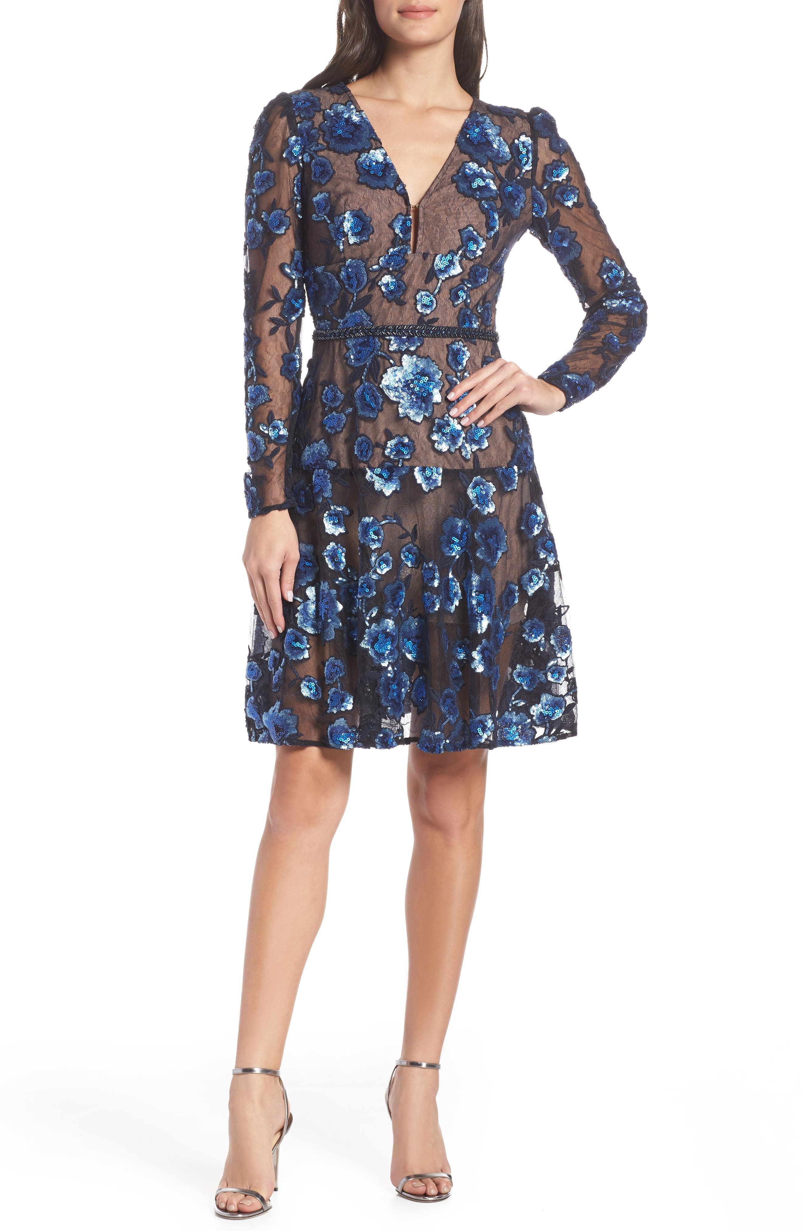 BRONX AND BANCO Sapphire Fit & Flare Cocktail Dress