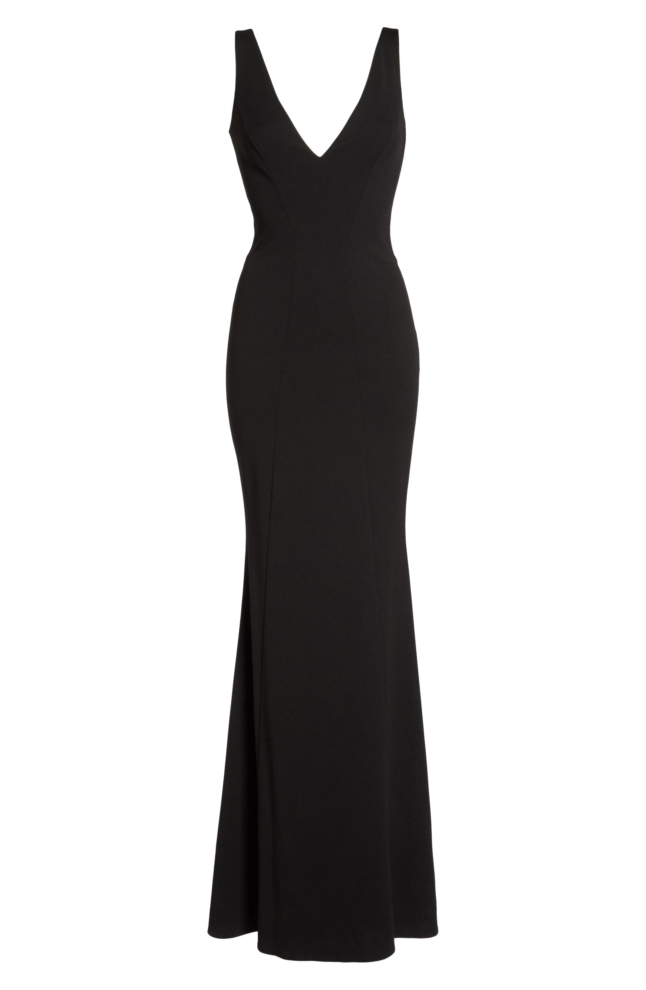KATIE MAY,                             Mischka V-Neck Crepe Gown,                             Alternate thumbnail 6, color,                             BLACK
