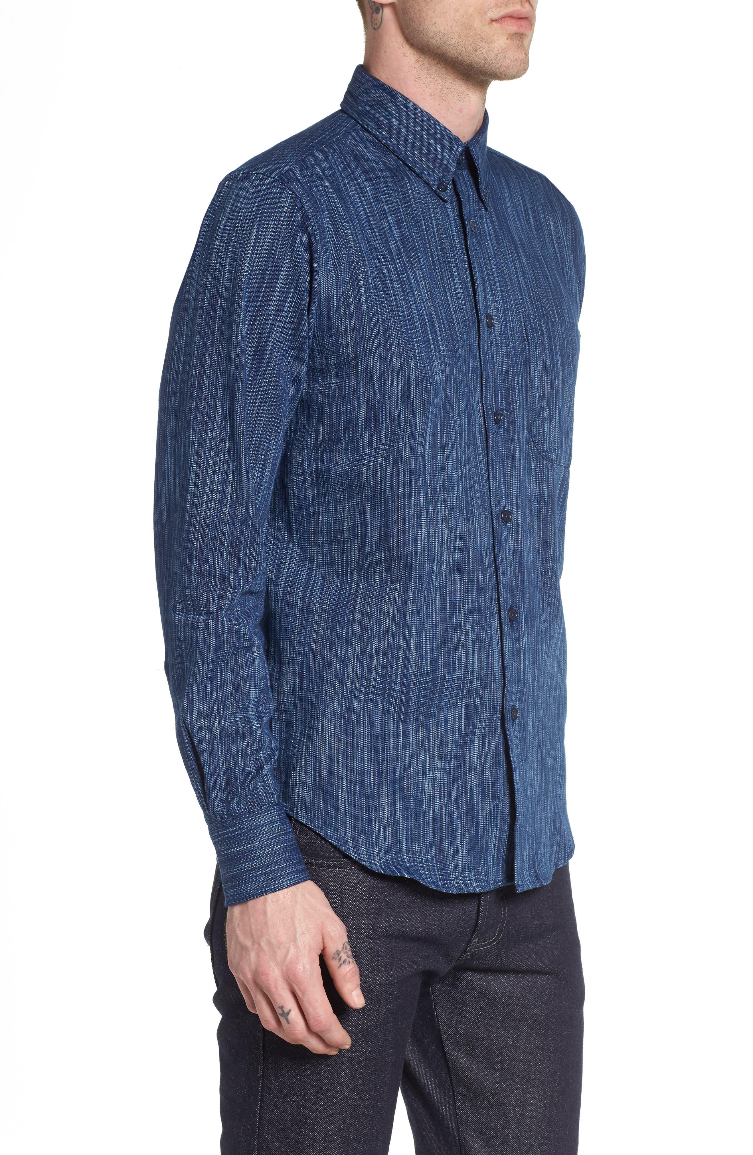 Indigo Tie Dye Rain Weave Shirt,                             Alternate thumbnail 3, color,                             401