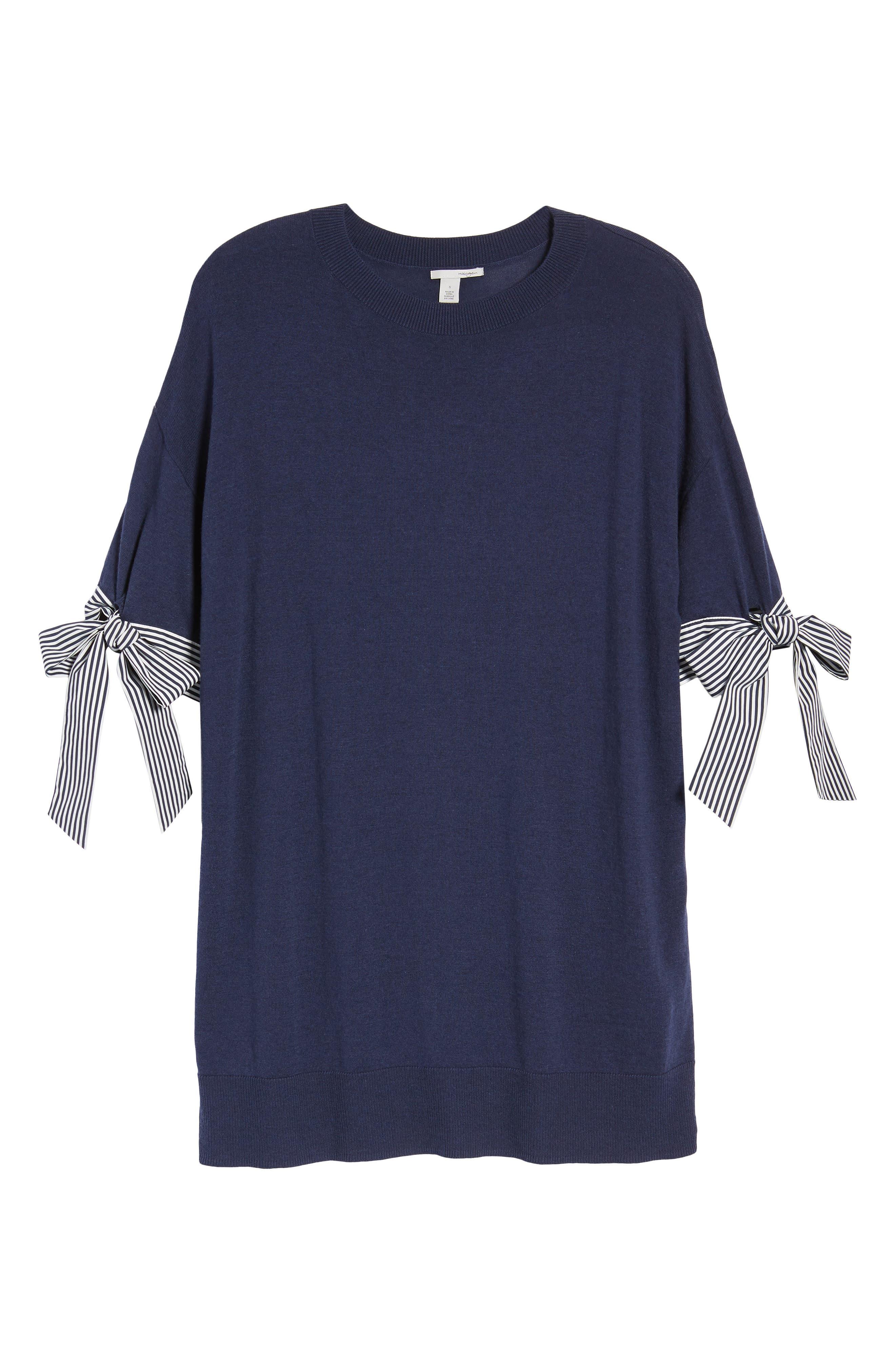Poplin Bow Detail Sweater,                             Alternate thumbnail 12, color,