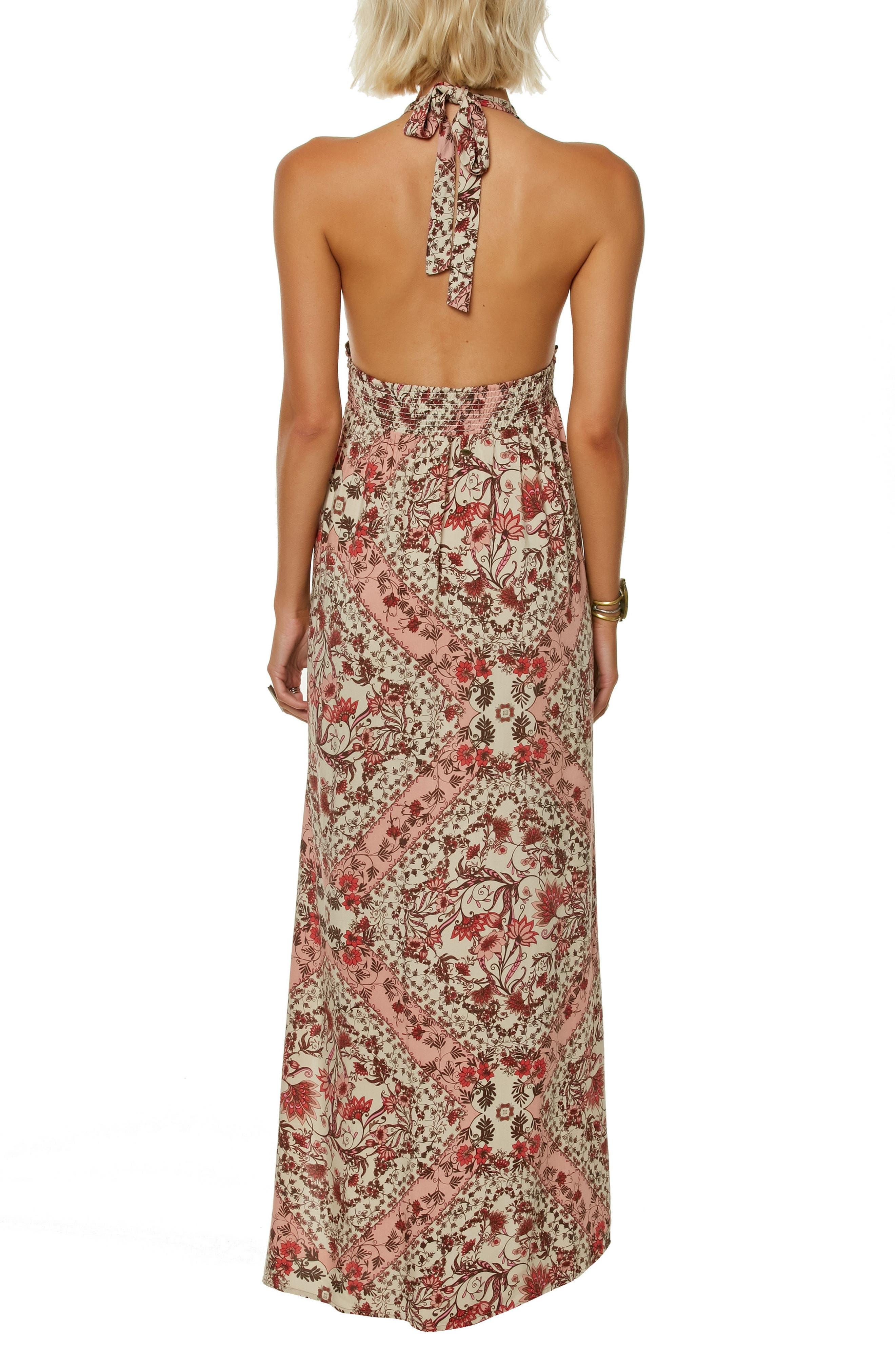 Dolley Halter Neck Maxi Dress,                             Alternate thumbnail 2, color,                             CAF CREME