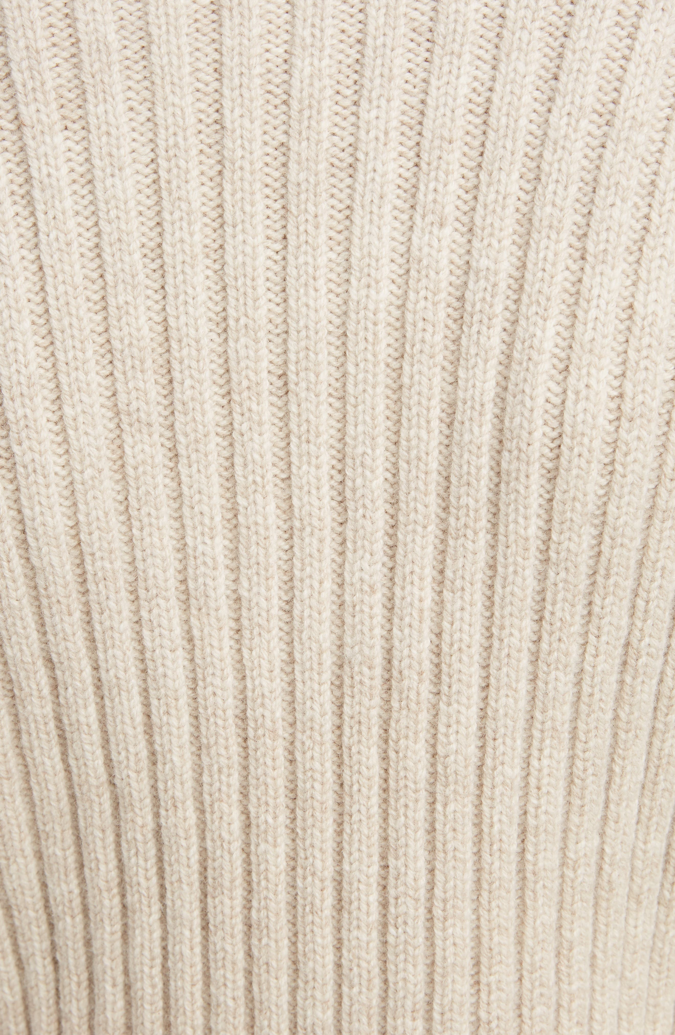 Ribbed Wool Turtleneck Sweater,                             Alternate thumbnail 5, color,                             OATMEAL