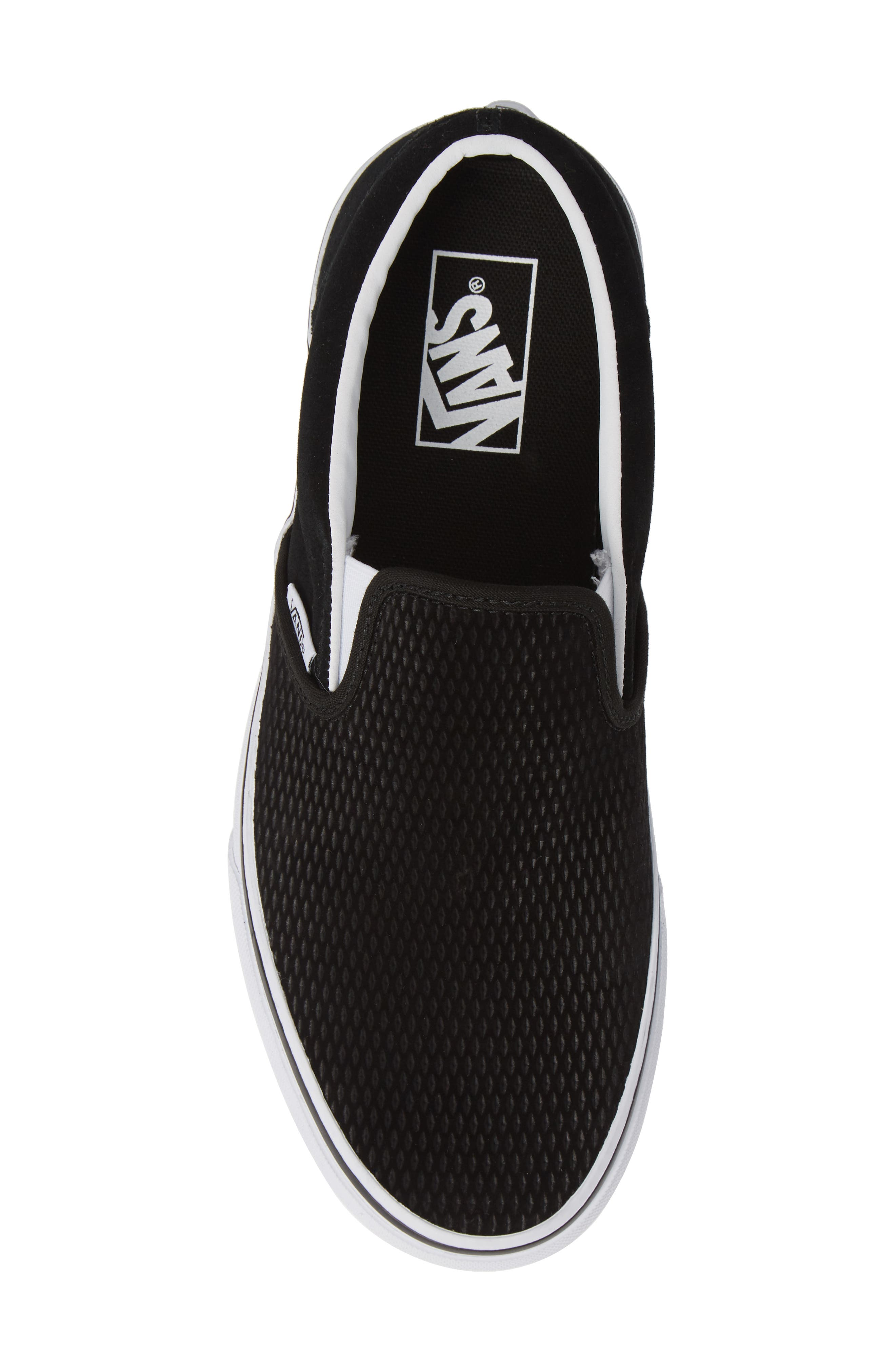 Classic Embossed Suede Slip-On,                             Alternate thumbnail 5, color,                             BLACK/ TRUE WHITE SUEDE