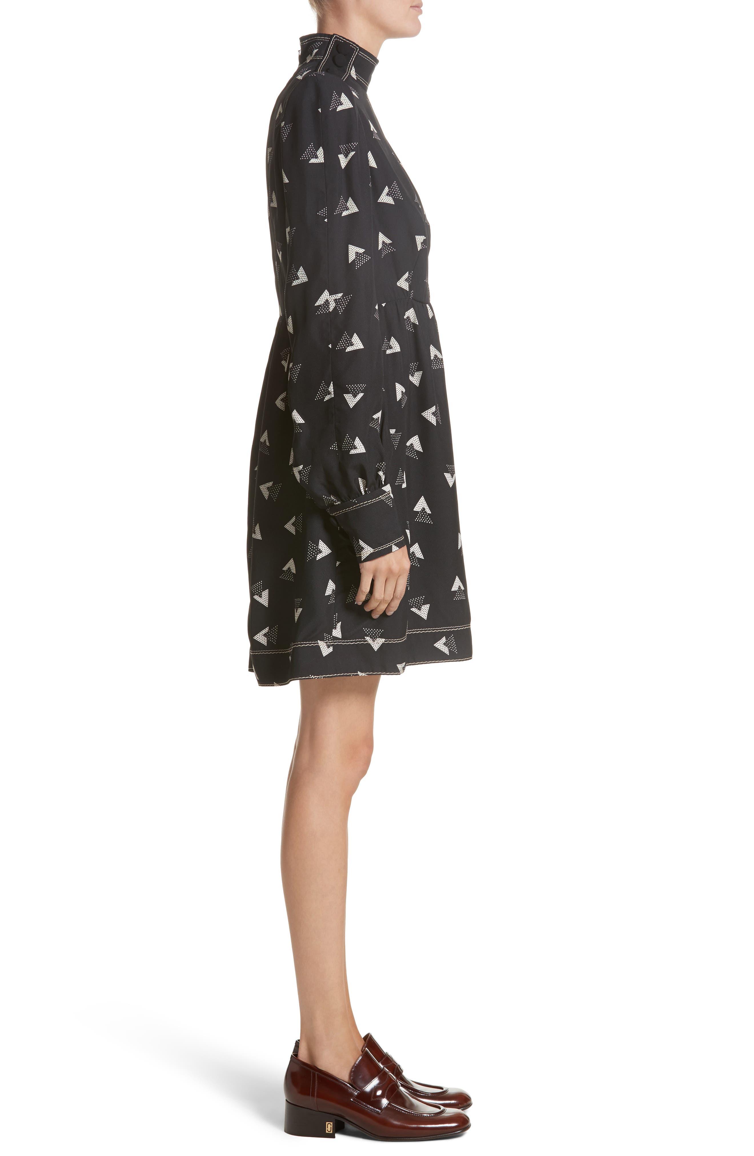 Geo Print Satin Back Crepe Dress,                             Alternate thumbnail 3, color,                             001