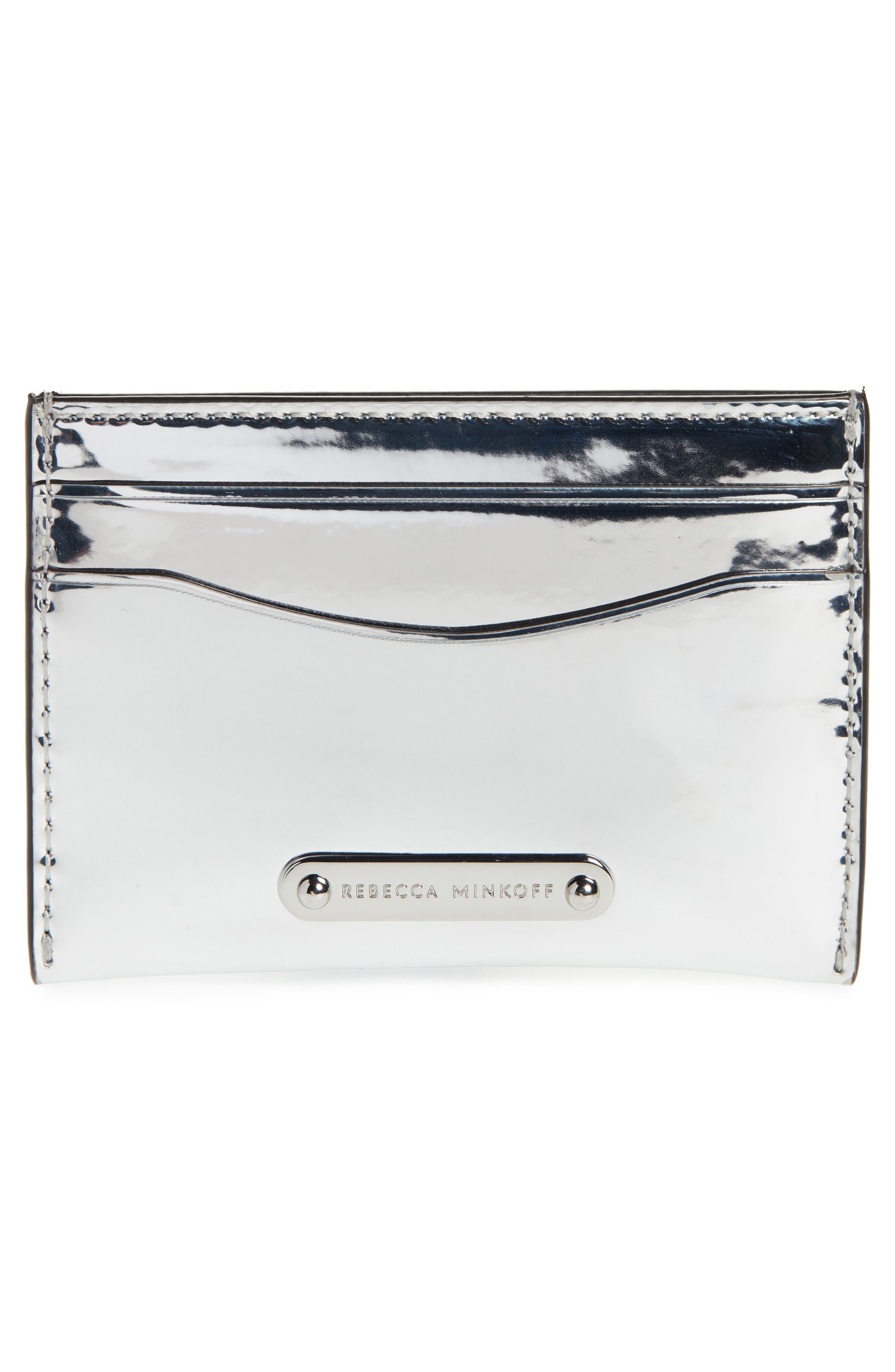 Leather Card Case,                             Alternate thumbnail 2, color,                             SILVER