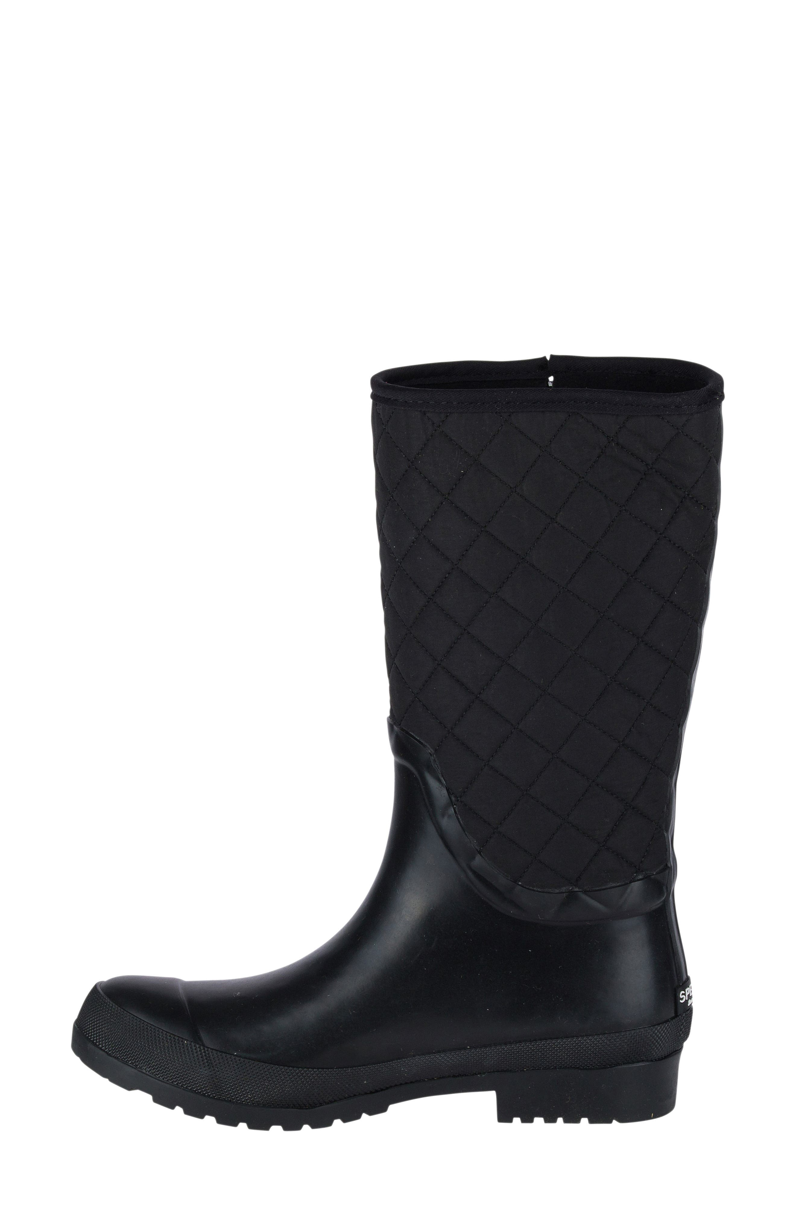 Walker Quilted Rain Boot,                             Alternate thumbnail 3, color,                             001