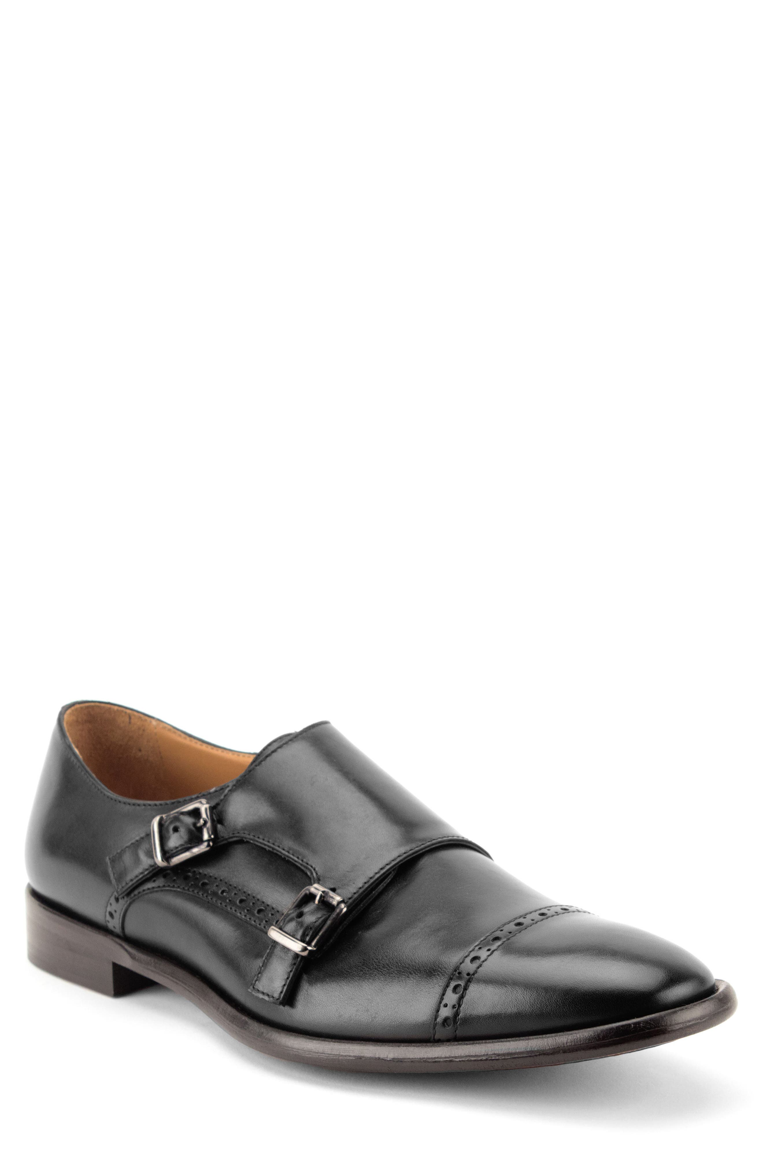 Corbett Cap Toe Double Strap Monk Shoe,                             Main thumbnail 1, color,                             BLACK LEATHER