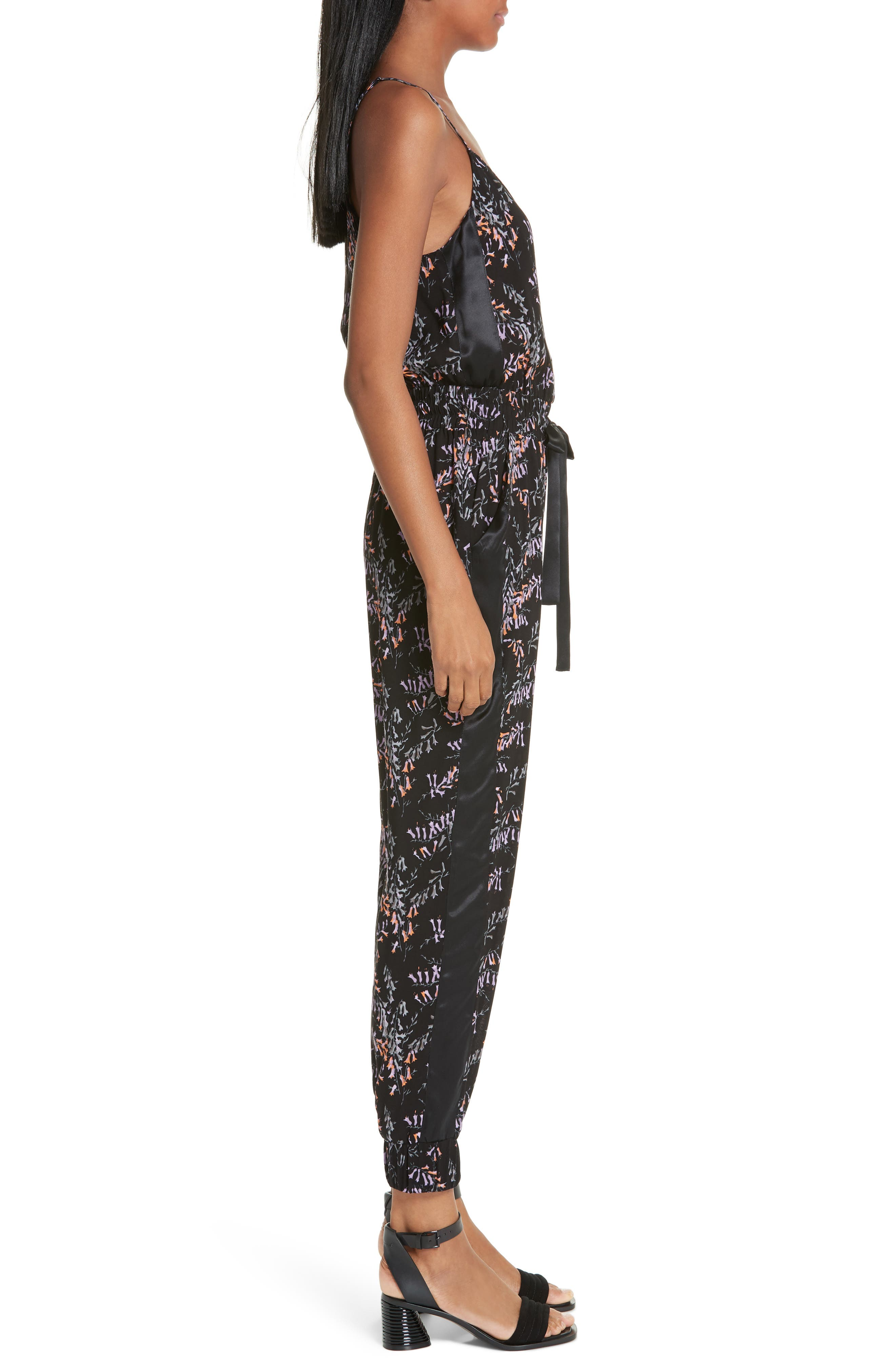 CINQ À SEPT,                             Amia Snapdragon Print Silk Jumpsuit,                             Alternate thumbnail 3, color,                             BLACK MULTI