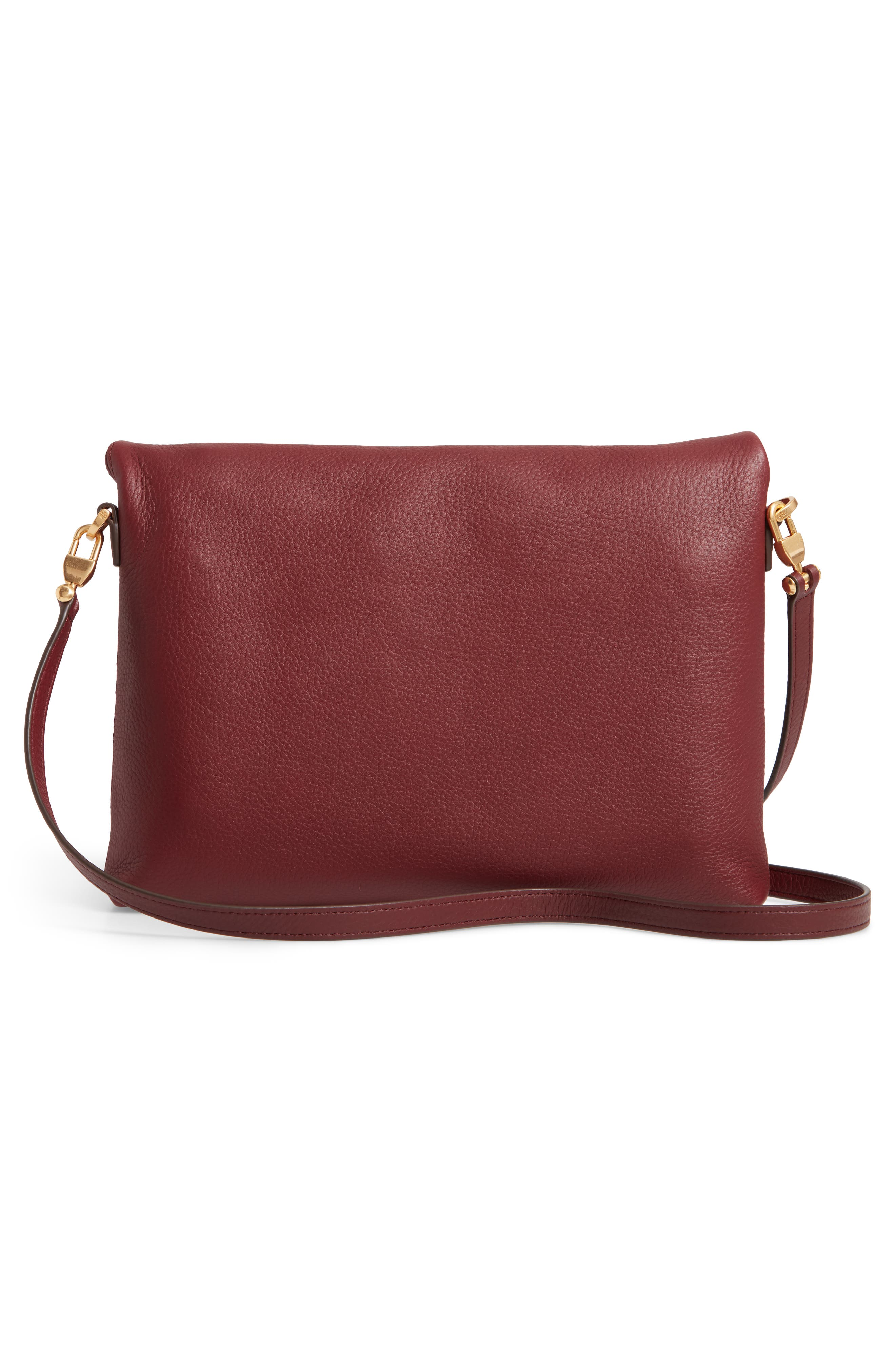 Half Moon Convertible Crossbody Bag,                             Alternate thumbnail 4, color,                             CLARET