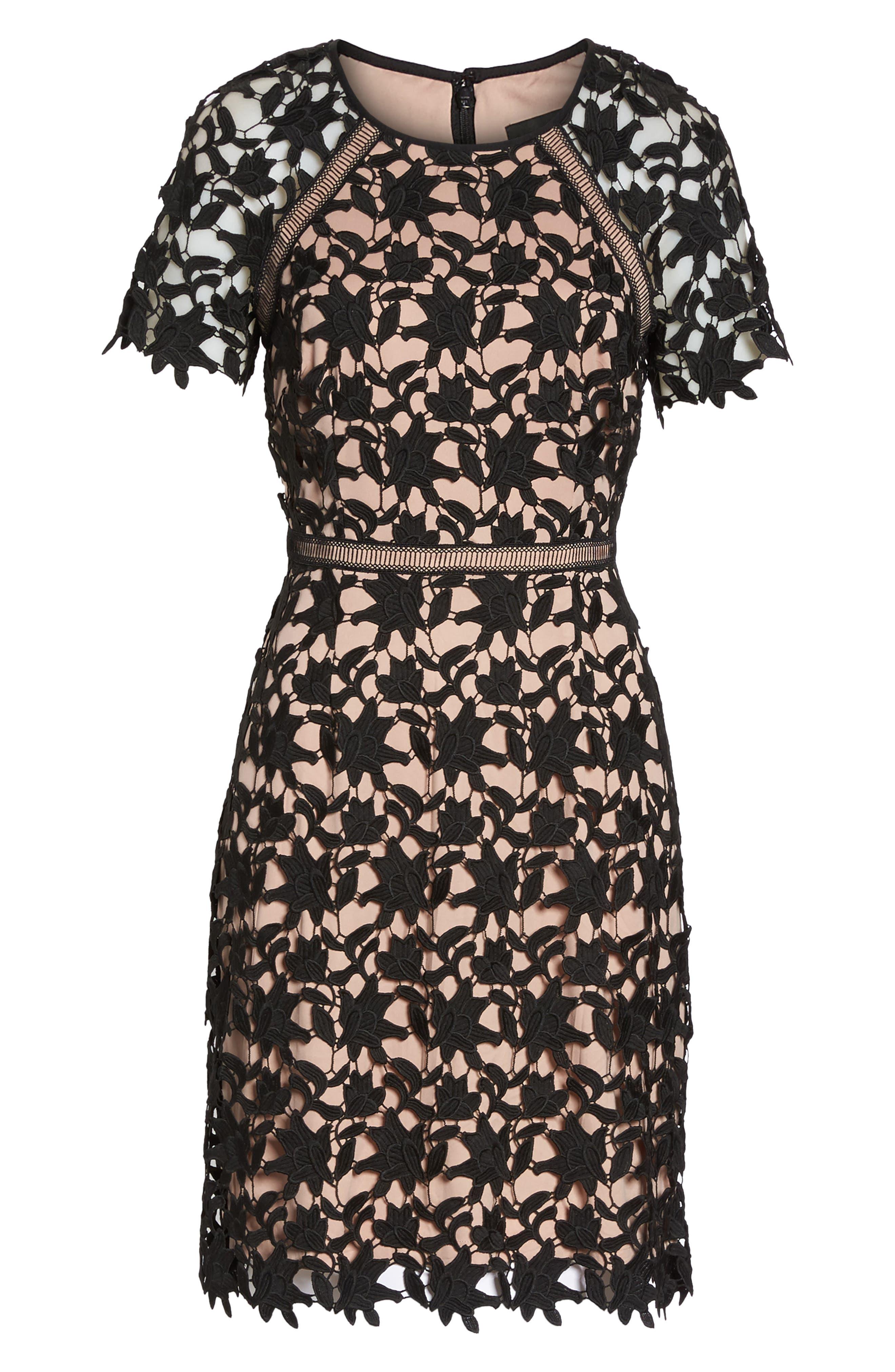 Ava Lace Sheath Dress,                             Alternate thumbnail 6, color,                             002