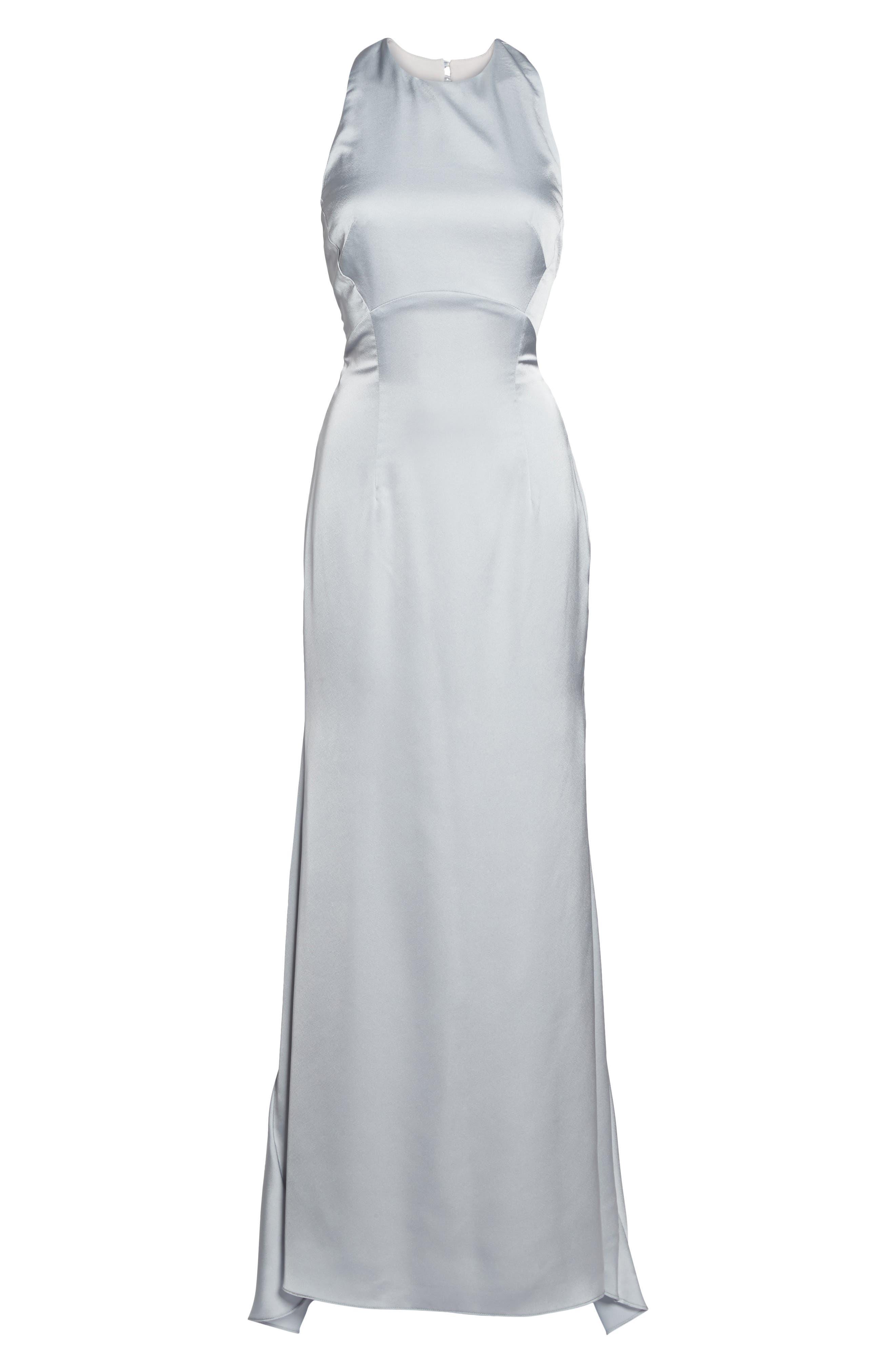 Amara Cross Back Satin Gown,                             Alternate thumbnail 6, color,                             044