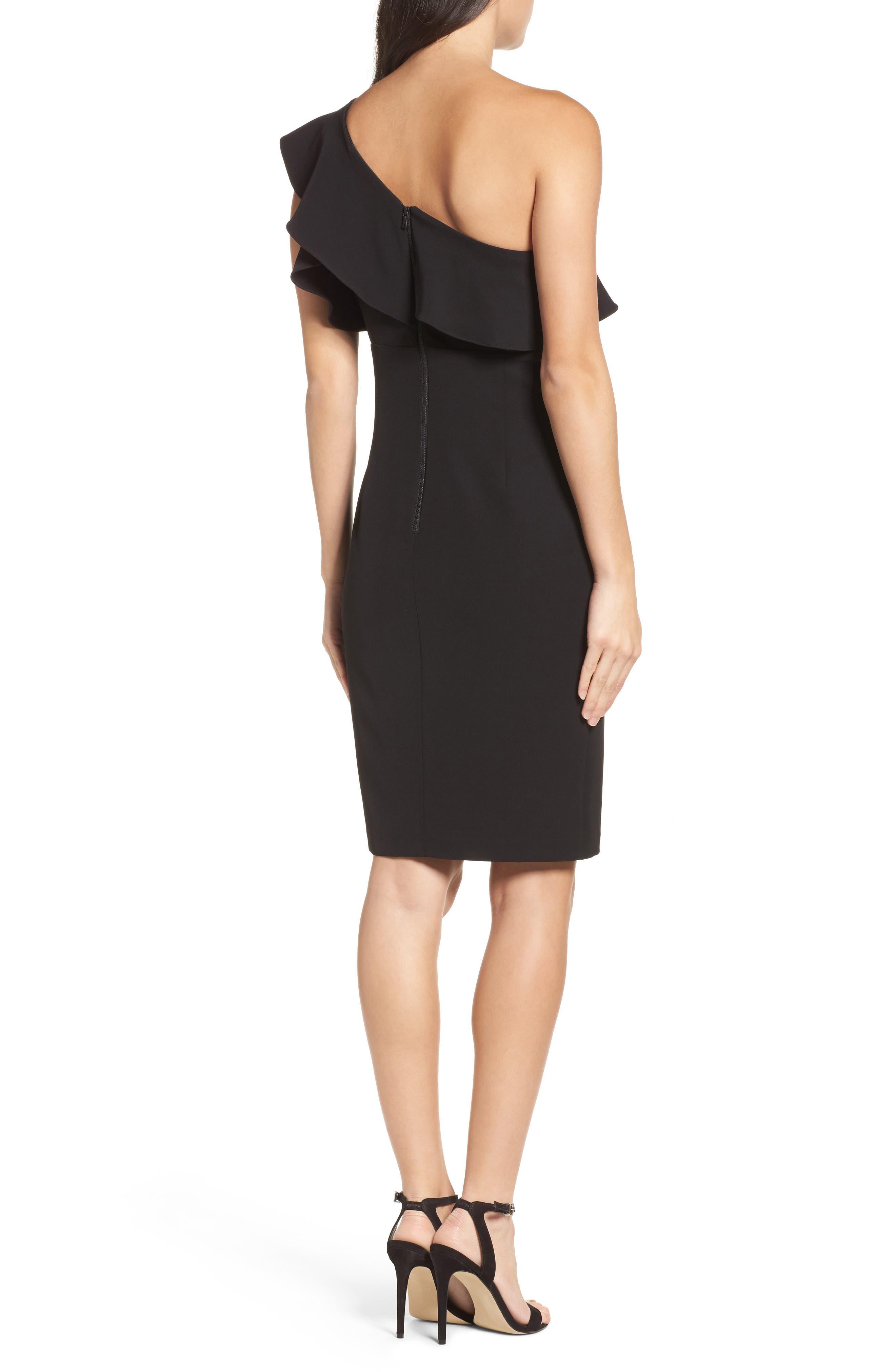 One-Shoulder Ruffle Sheath Dress,                             Alternate thumbnail 3, color,