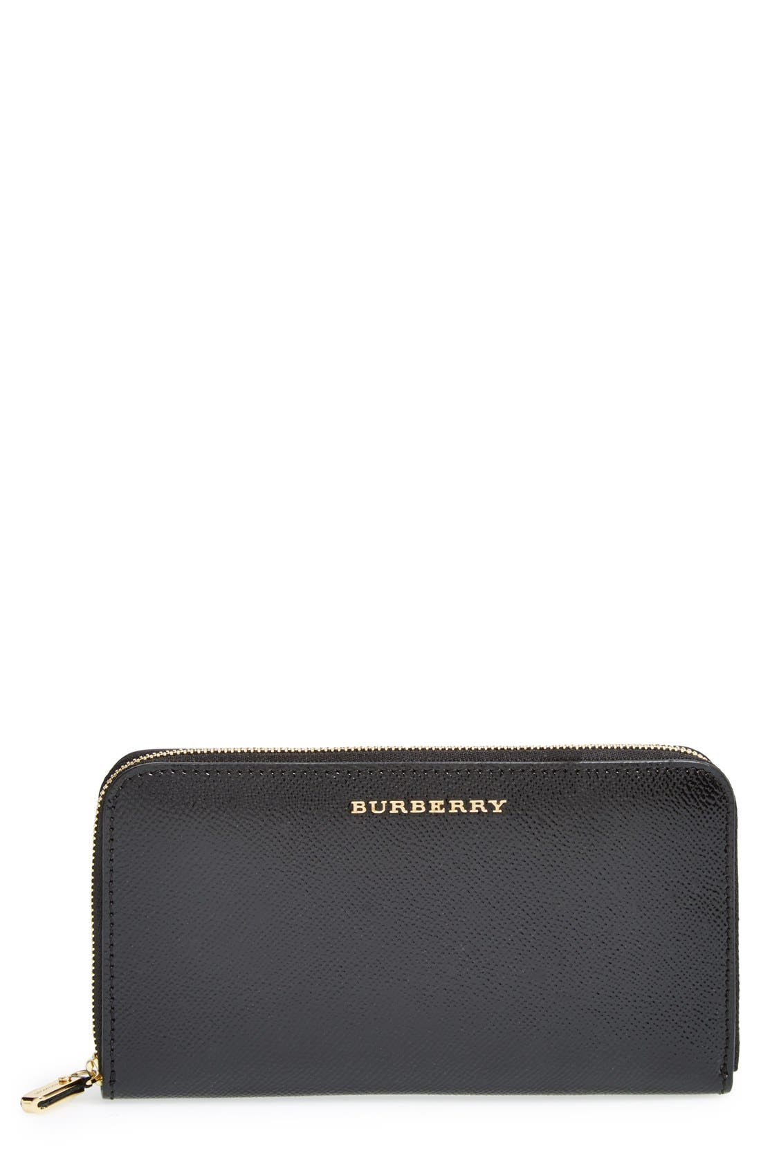BURBERRY,                             'Elmore - London Leather' Zip Around Wallet,                             Main thumbnail 1, color,                             001