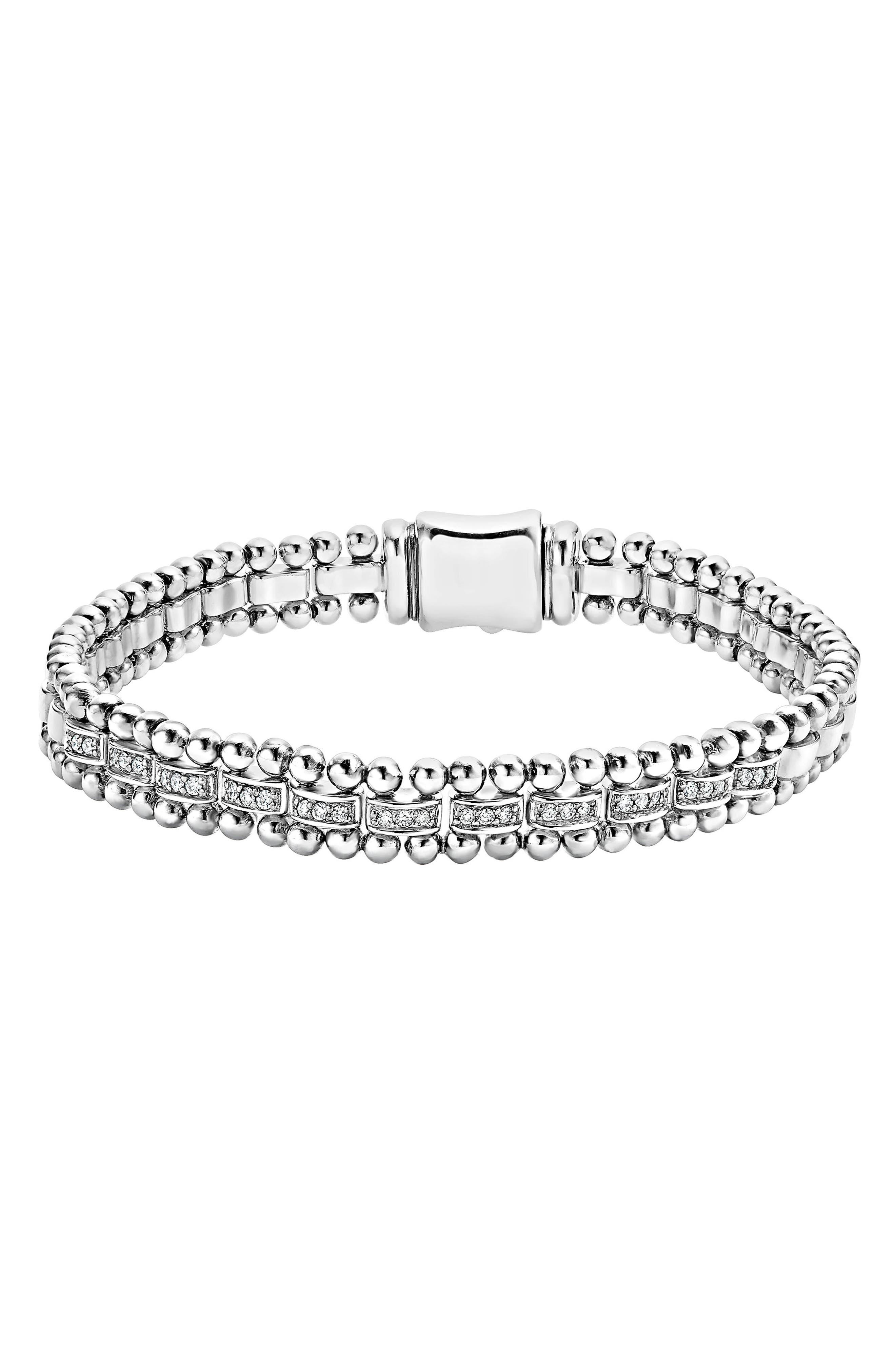 Caviar Spark Diamond Link Bracelet,                             Main thumbnail 1, color,                             SILVER/ DIAMOND