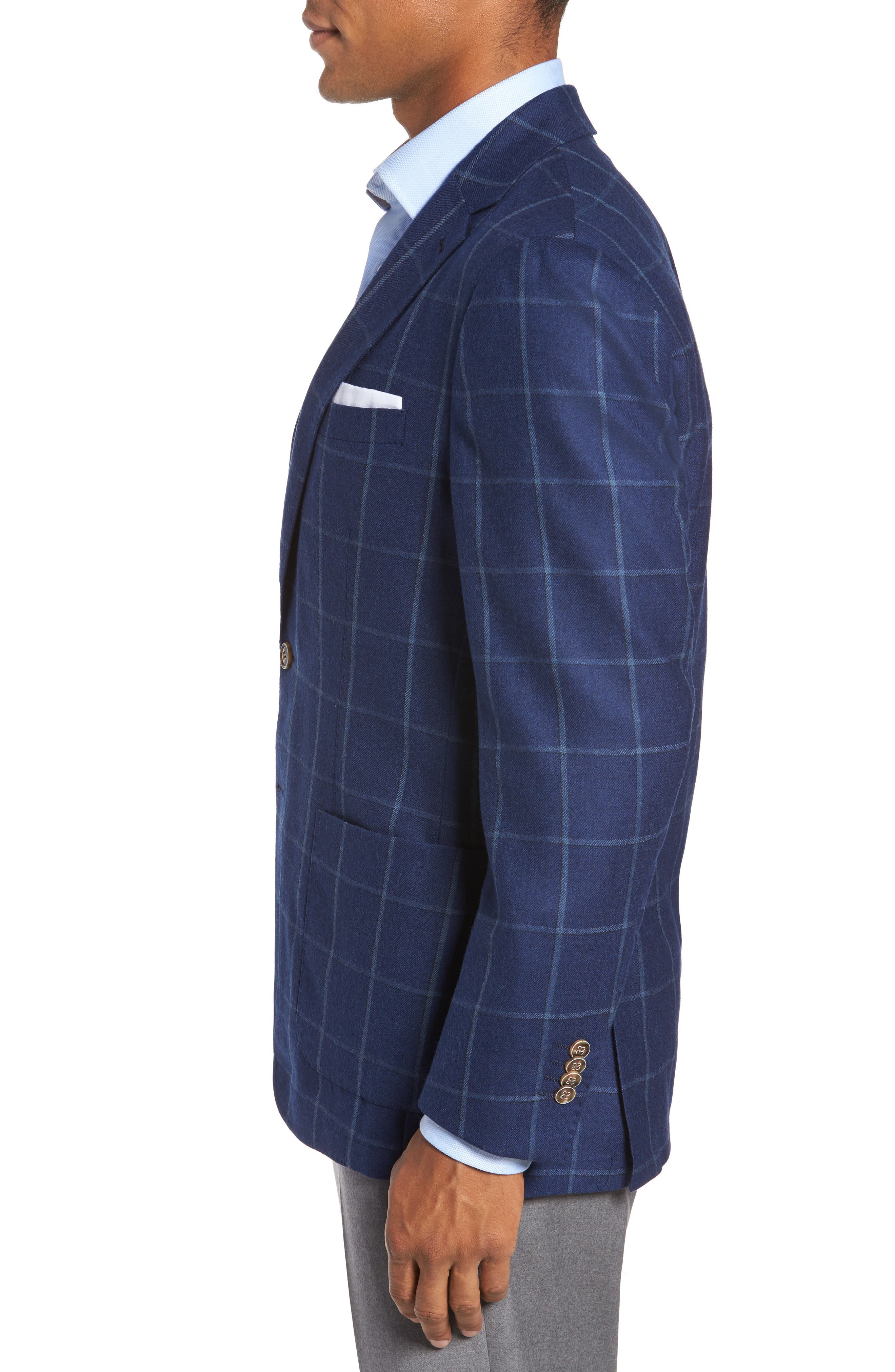 Windowpane Wool Blazer,                             Alternate thumbnail 3, color,