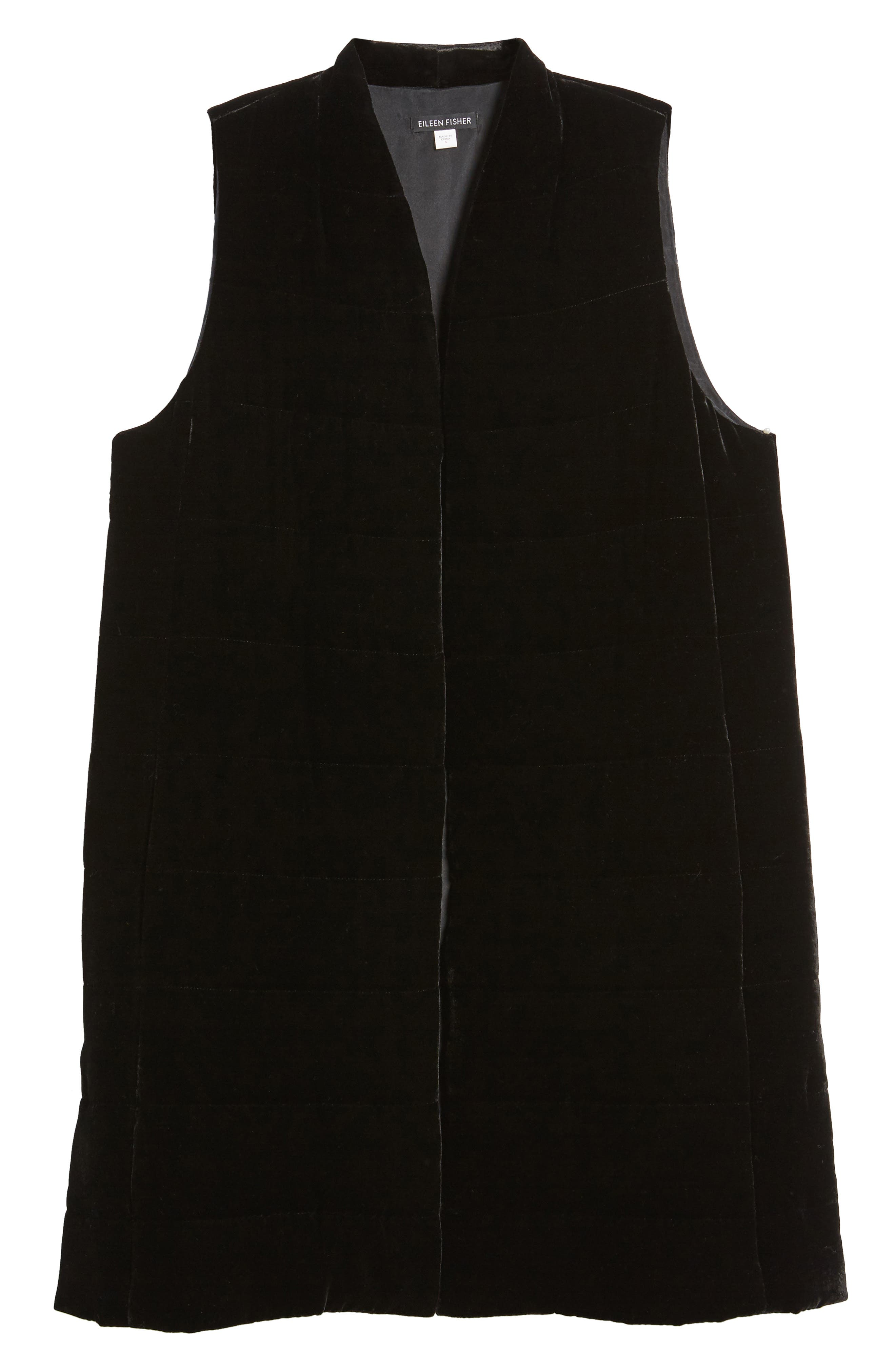 Long Quilted Velvet Vest,                             Alternate thumbnail 5, color,                             001