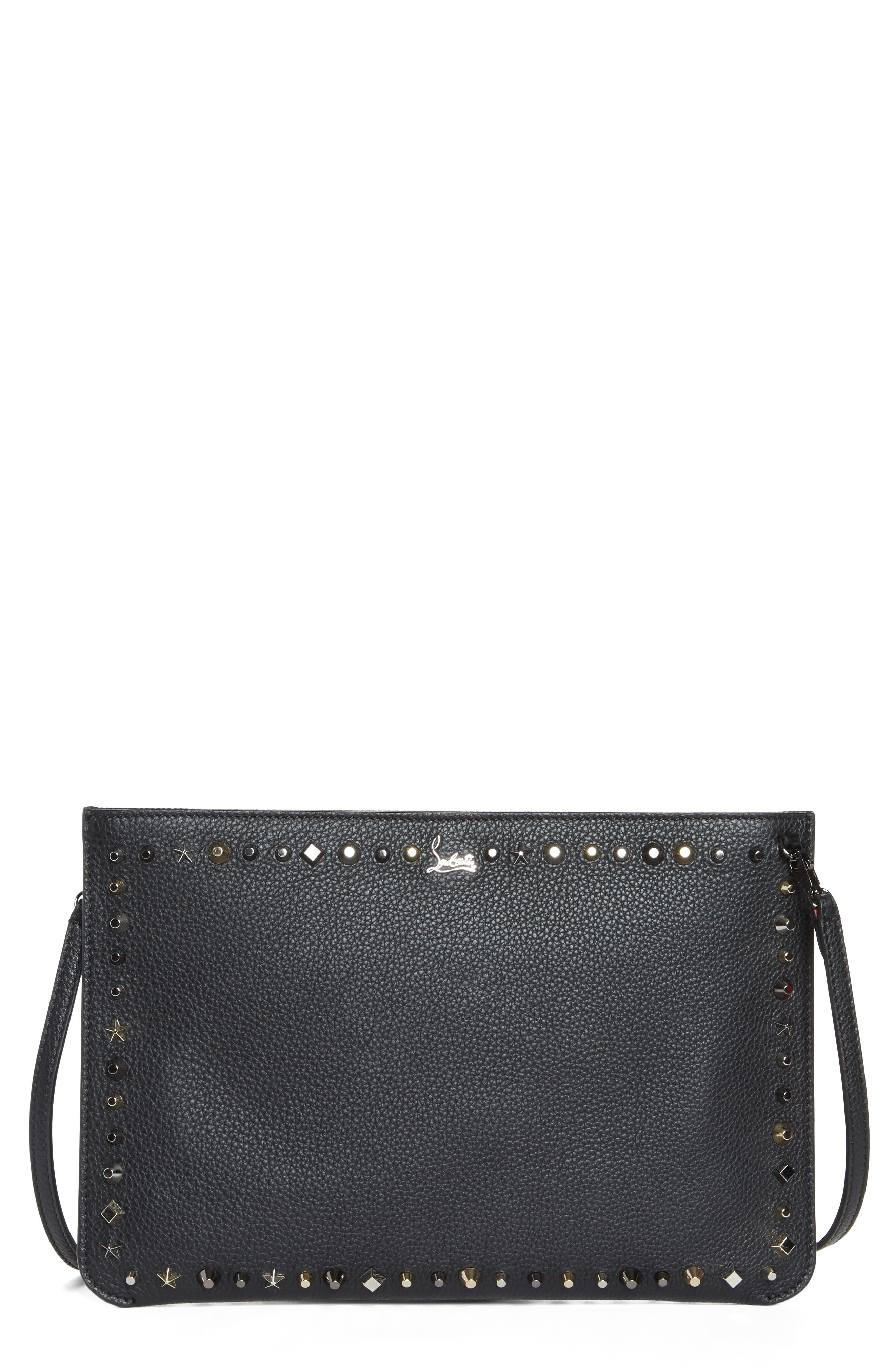 Loubiclutch Spiked Leather Clutch,                         Main,                         color, BLACK/ MULTIMETAL