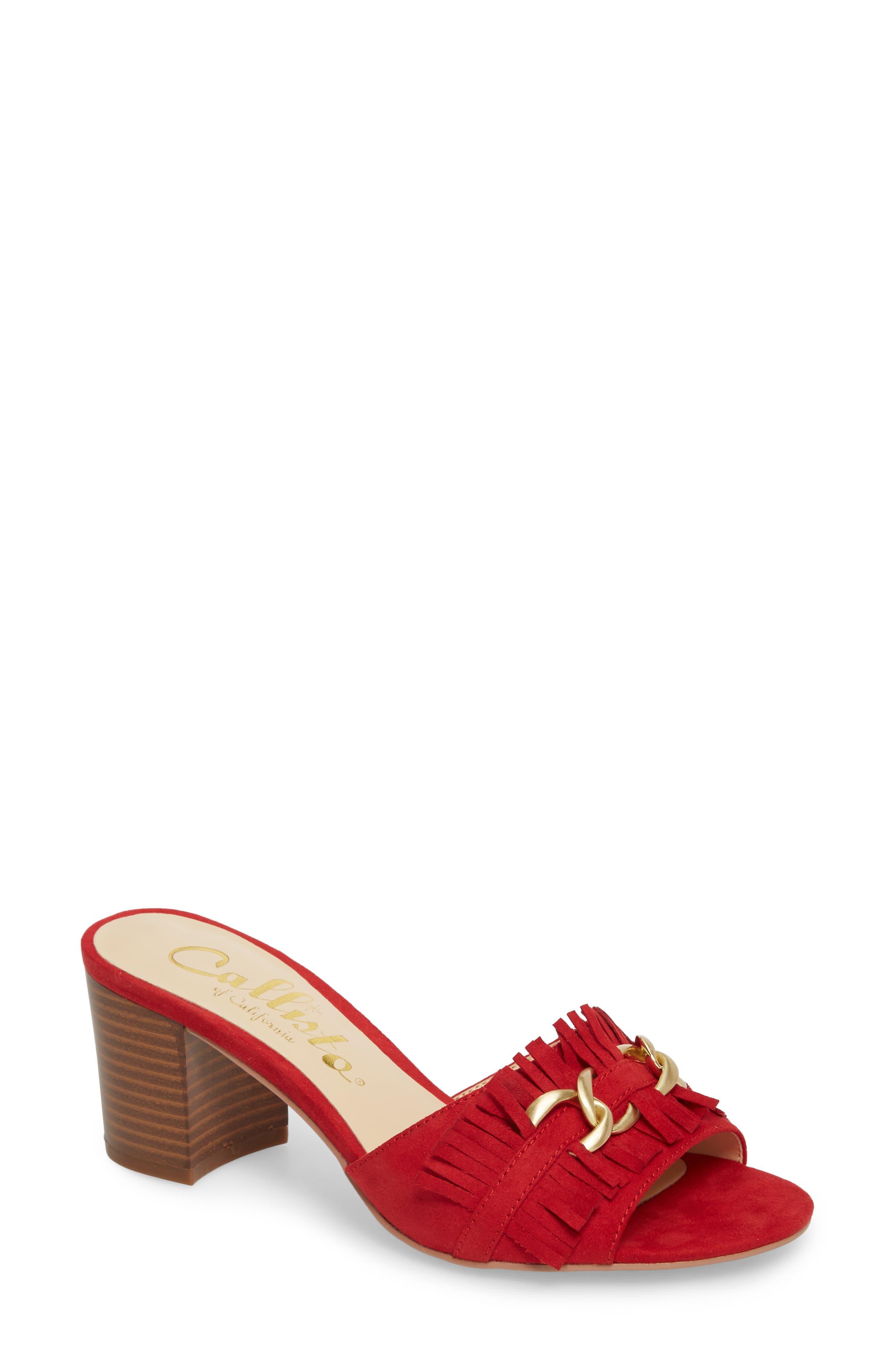 Callisto Zinnia Block Heel Slide Sandal, Red