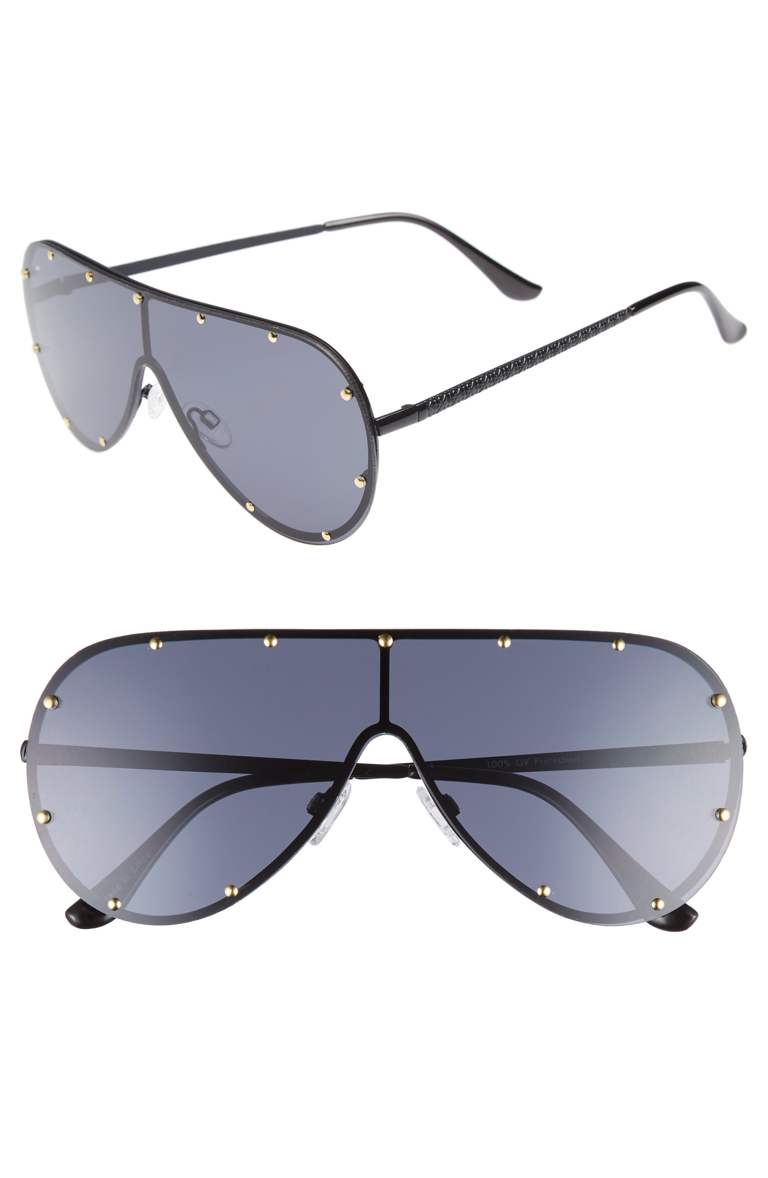 65mm Studded Shield Sunglasses,                         Main,                         color, 001