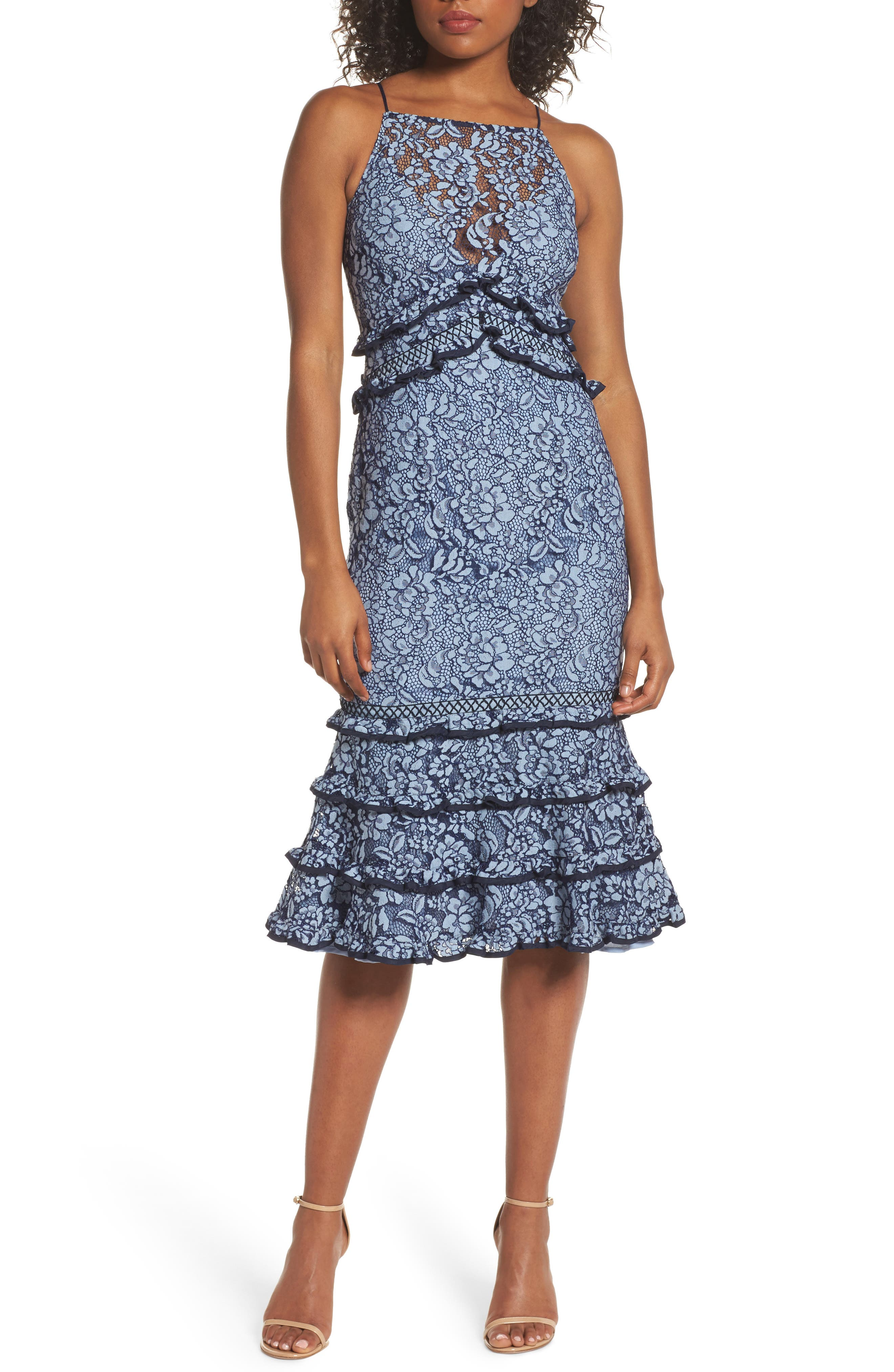 Catch Me Ruffle Lace Sheath Dress,                         Main,                         color, 425