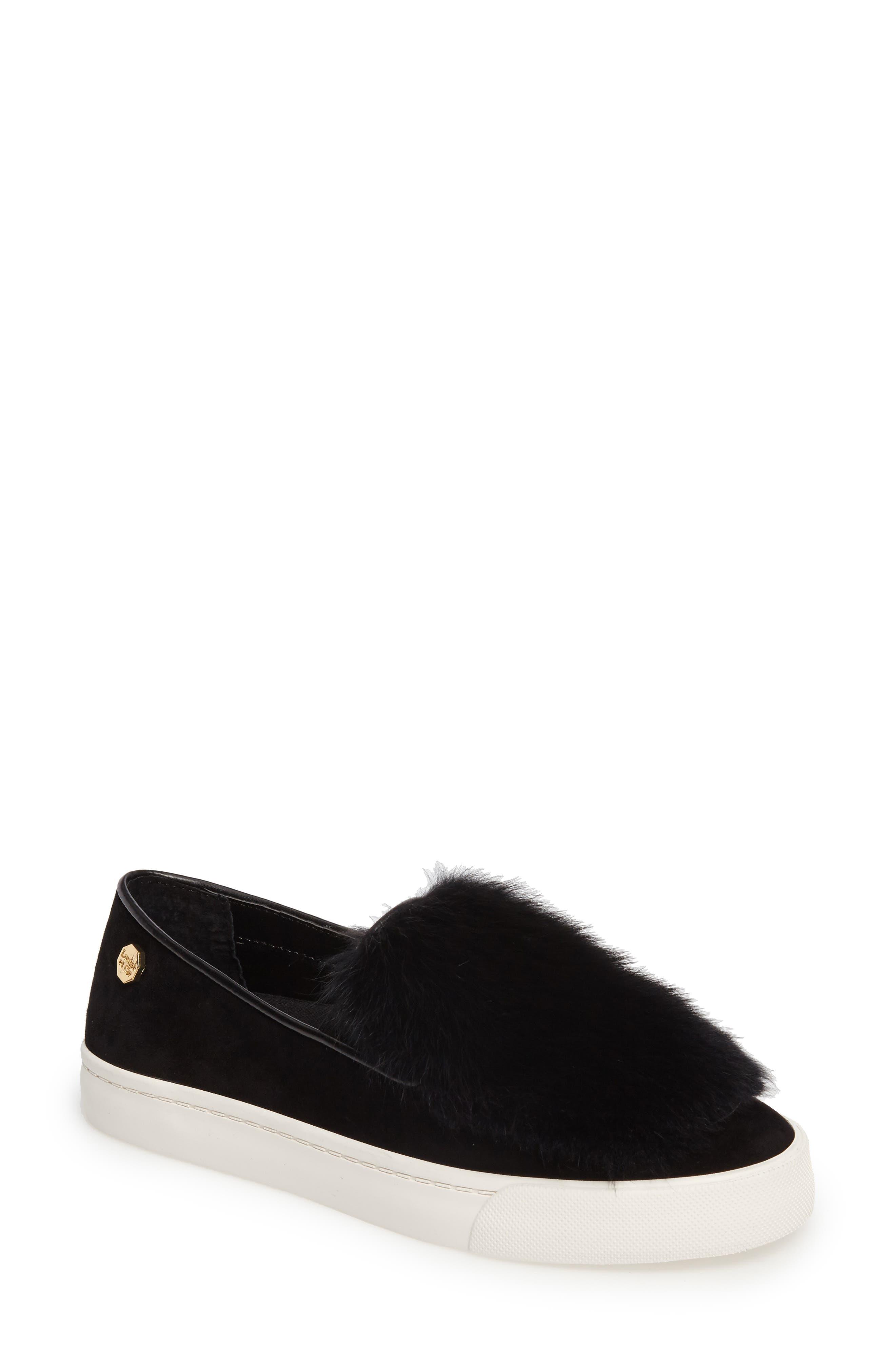 Bershner Genuine Rabbit Fur Slip-On Sneaker,                         Main,                         color, 001